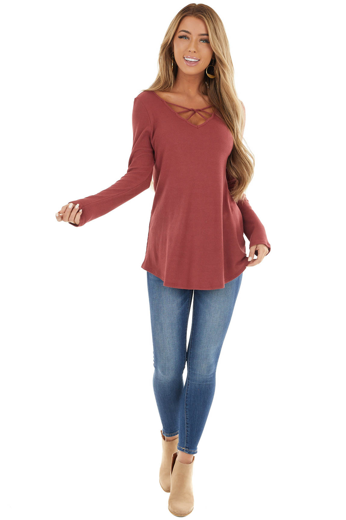Rust Ribbed Long Sleeve Knit Top with Caged Neckline