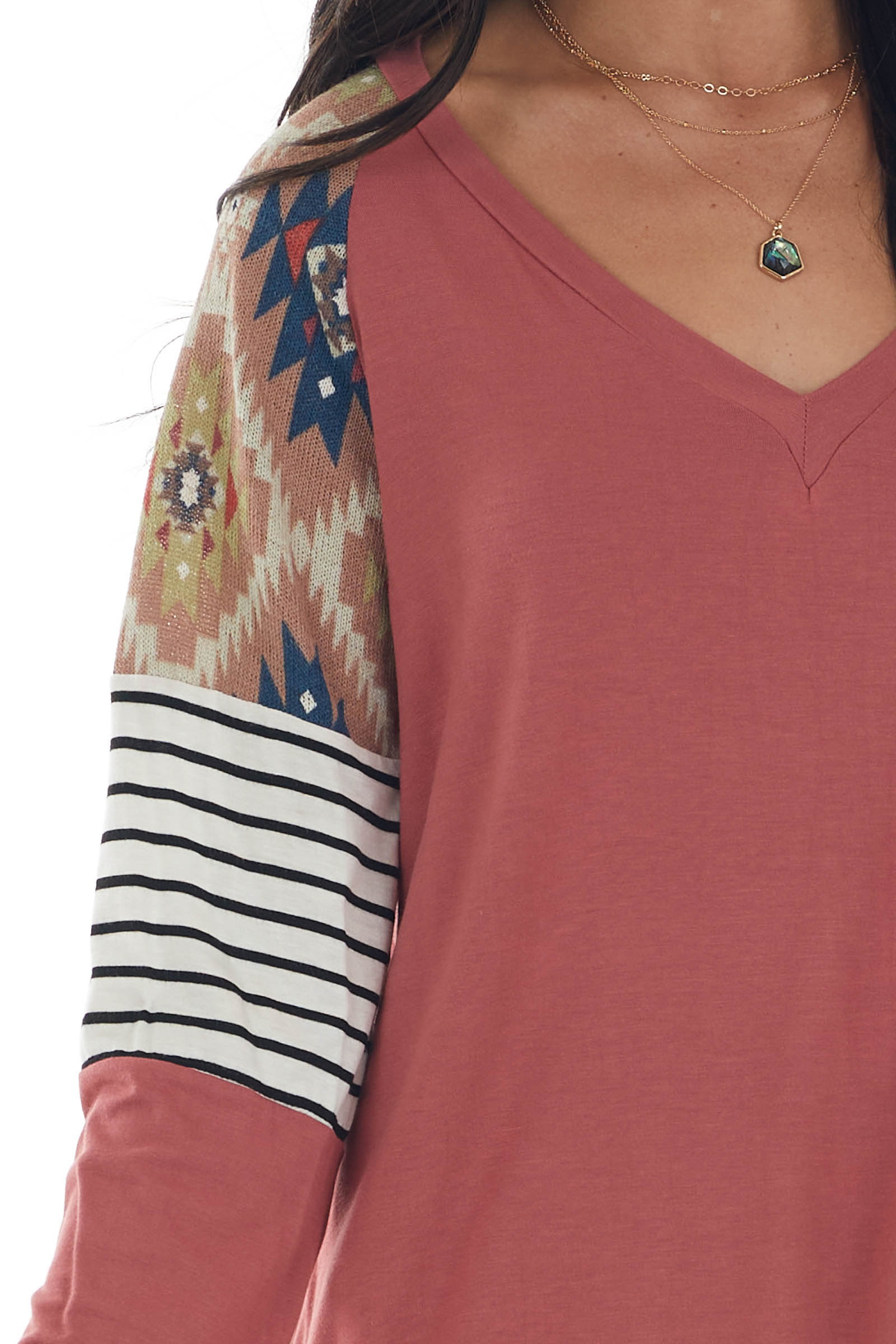 Marsala Soft Knit Top with Contrast Multiprint Long Sleeves