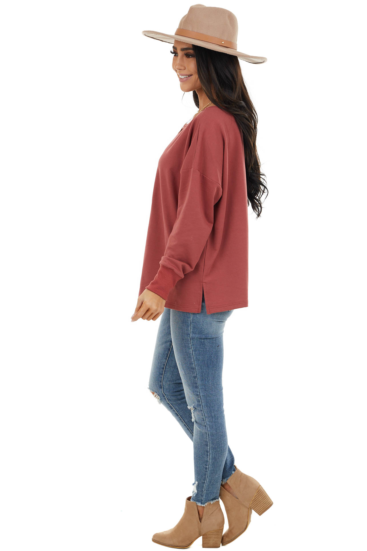 Brick Long Sleeve Stretchy Knit Top With Side Slit
