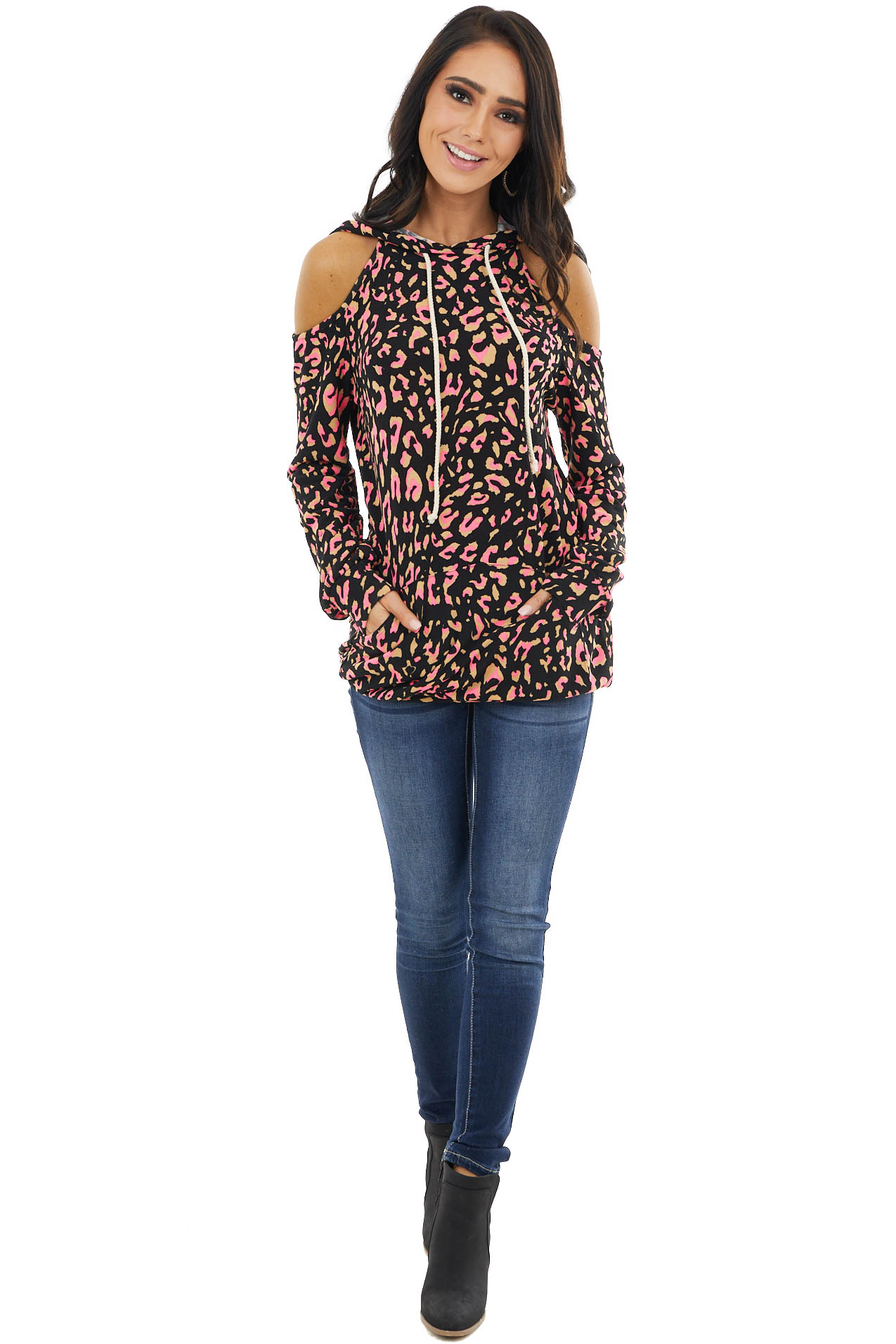Neon Pink Leopard Print Cold Shoulder Hoodie with Pocket