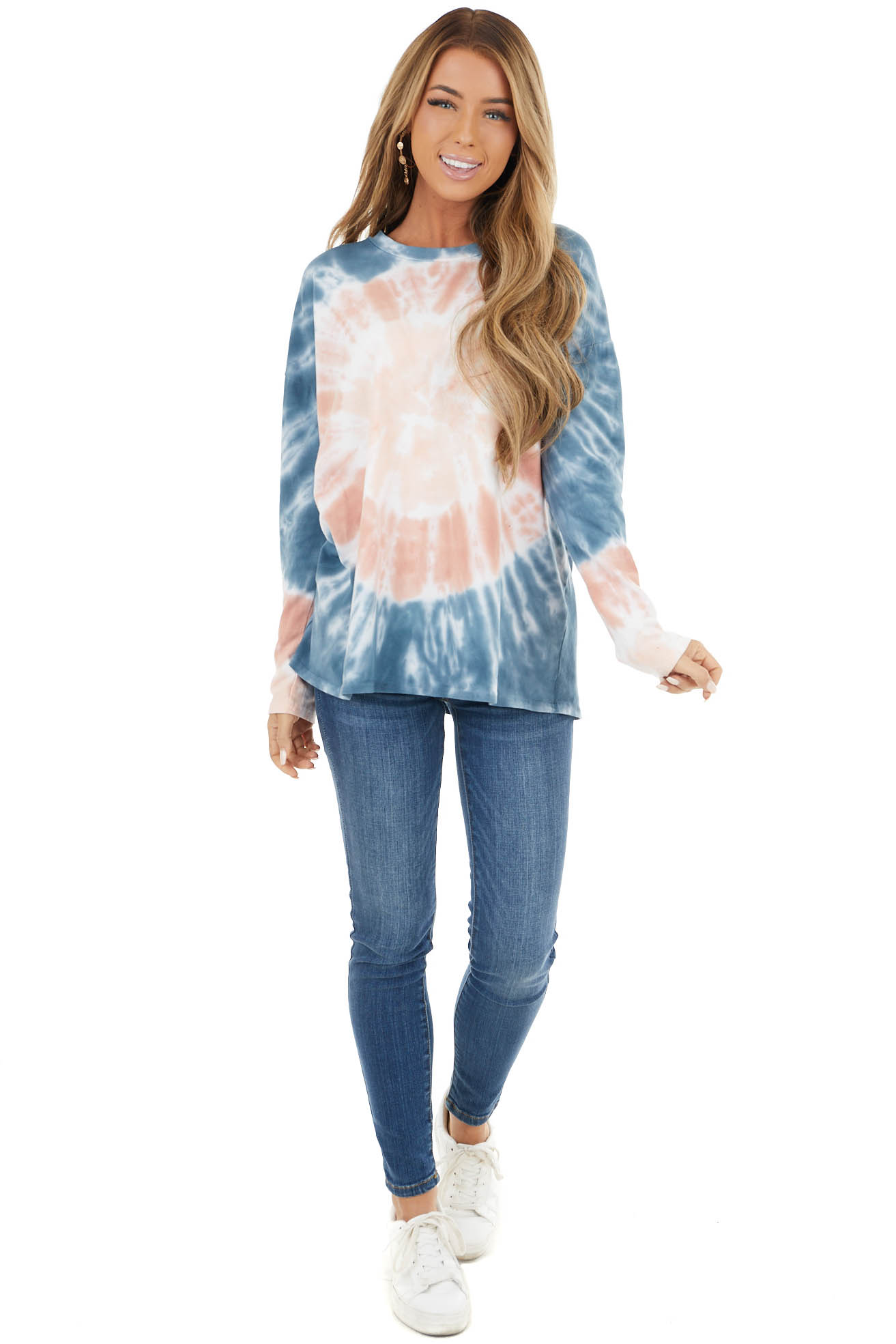 Navy Blue and Salmon Tie Dye Long Sleeve Knit Crewneck Top