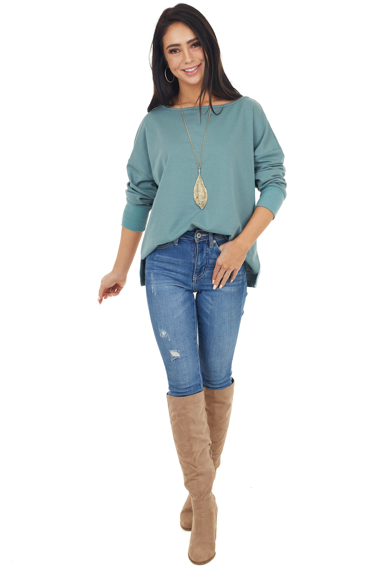 Dusty Sage Long Sleeve Stretchy Knit Top With Side Slit