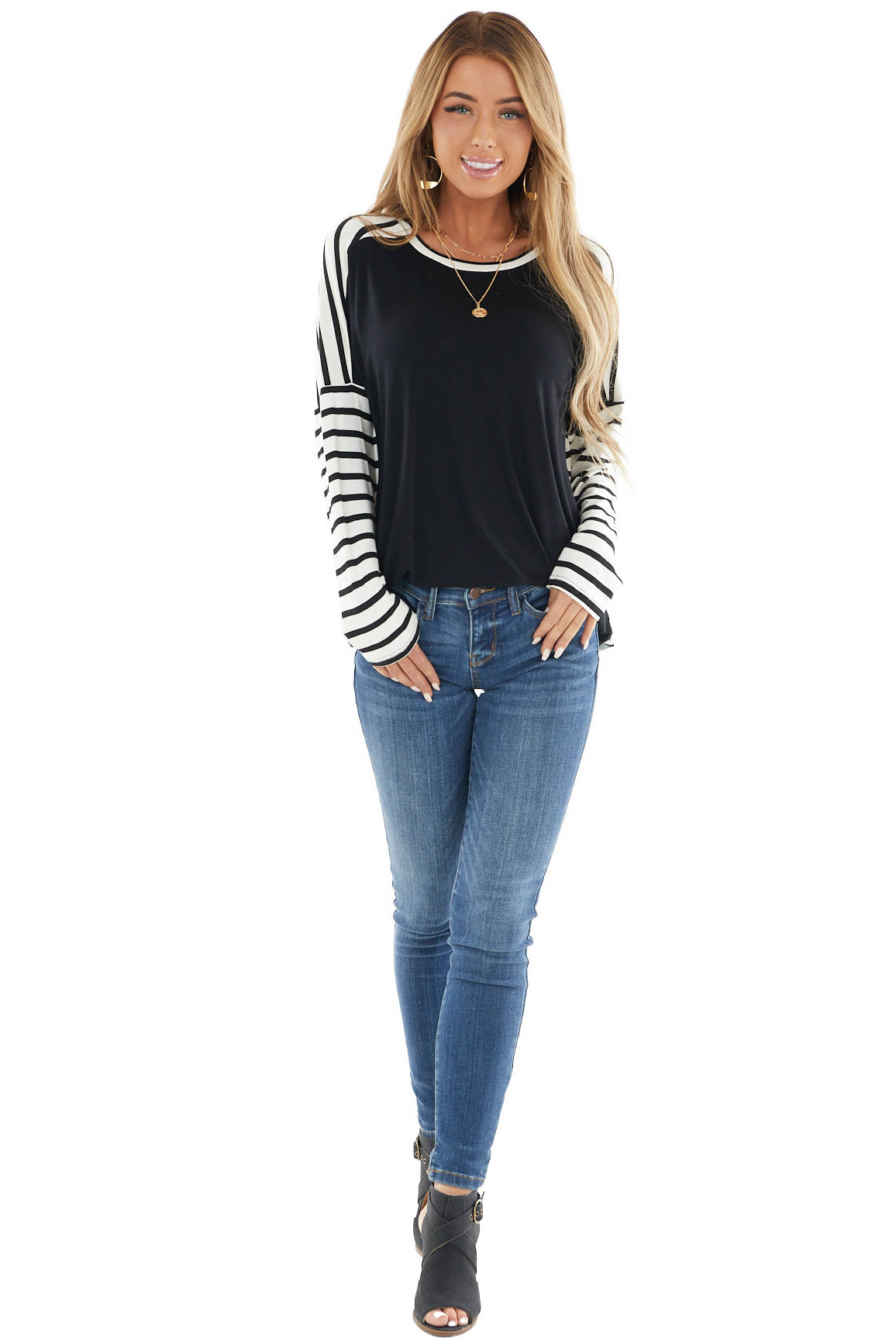 Black and Ivory Striped Long Sleeve Top with Solid Front