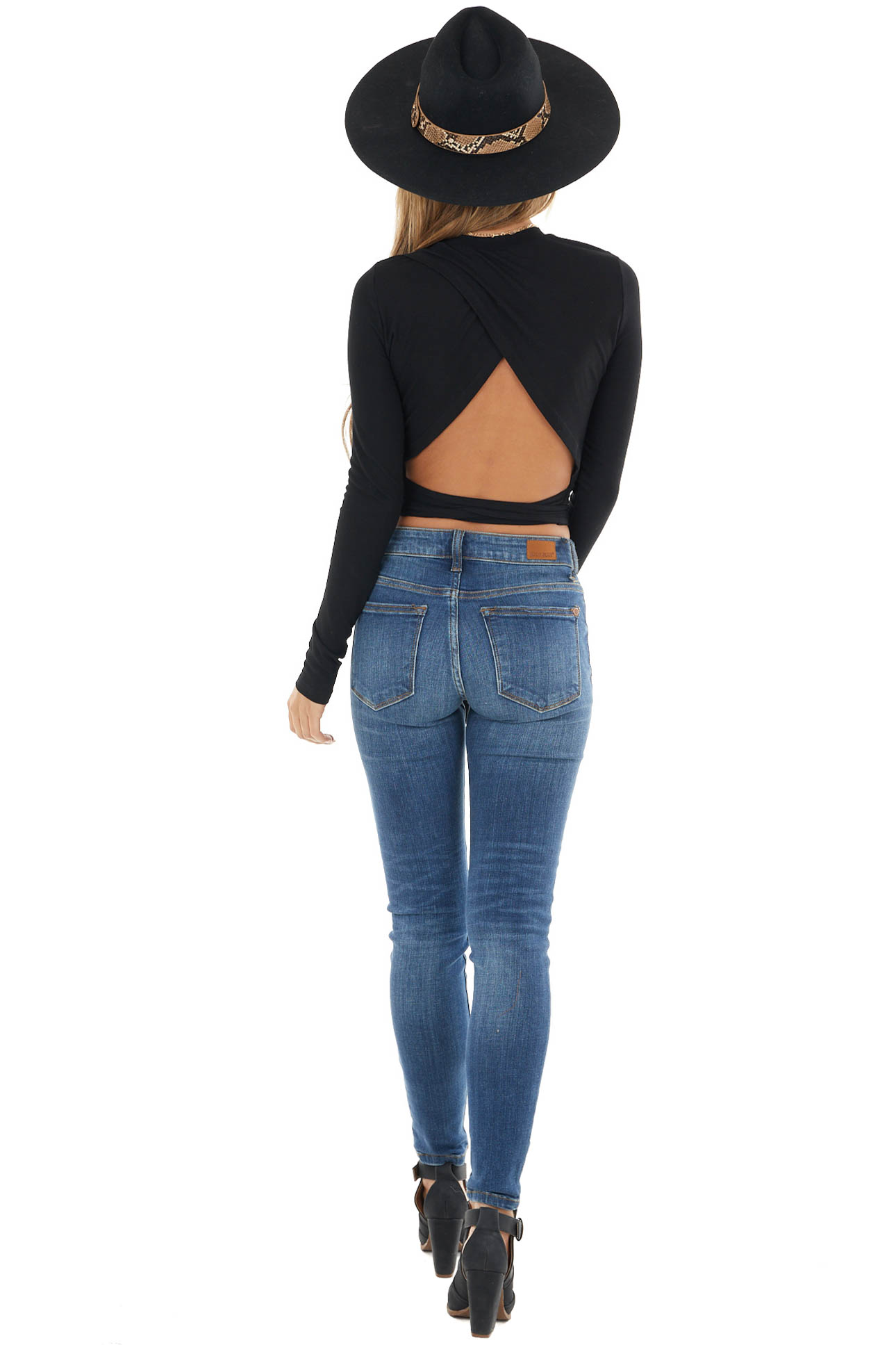 Black Long Sleeve Top with Open Back and Tie Detail