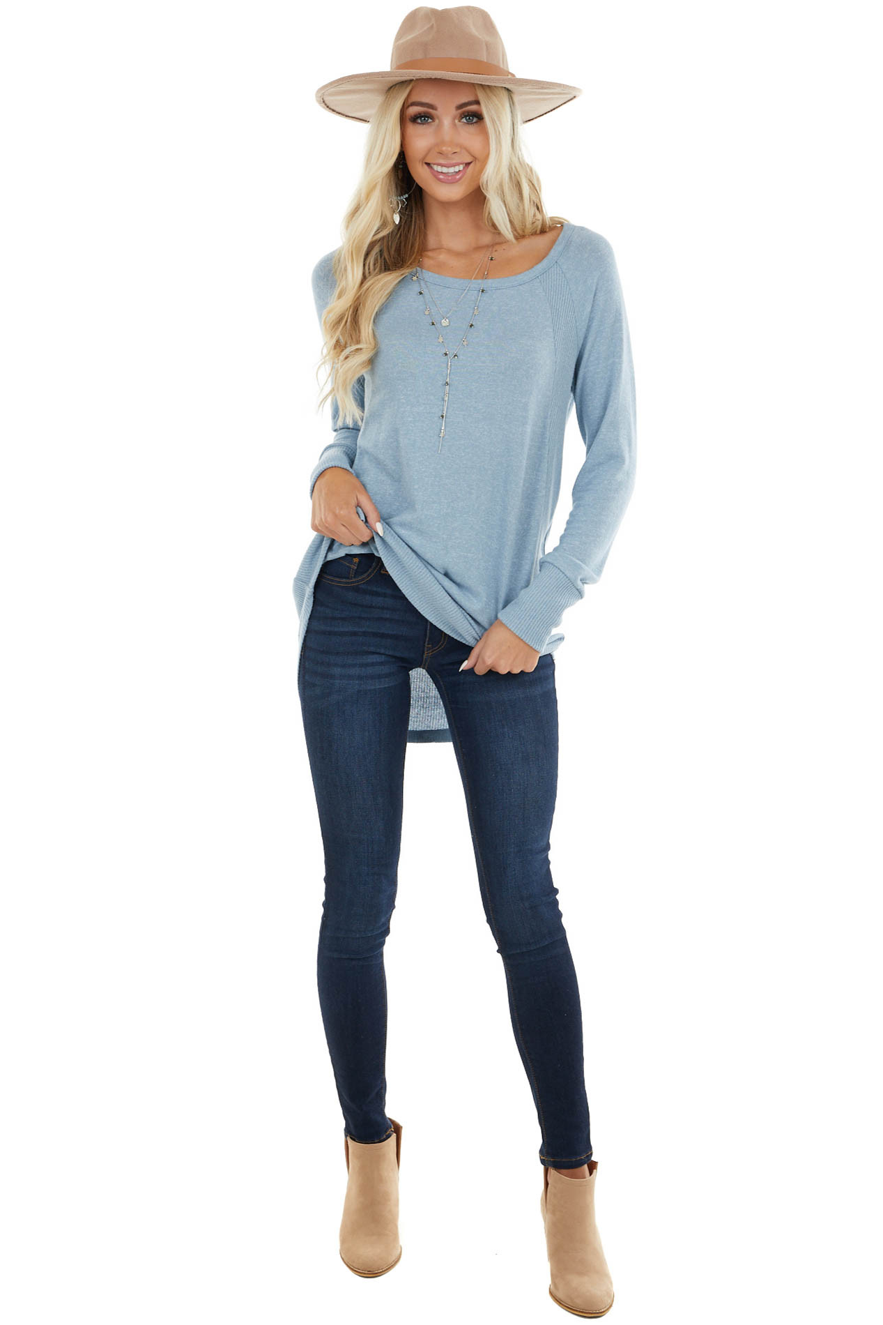 Powder Blue Stretchy Knit Long Sleeve with Ribbed Details