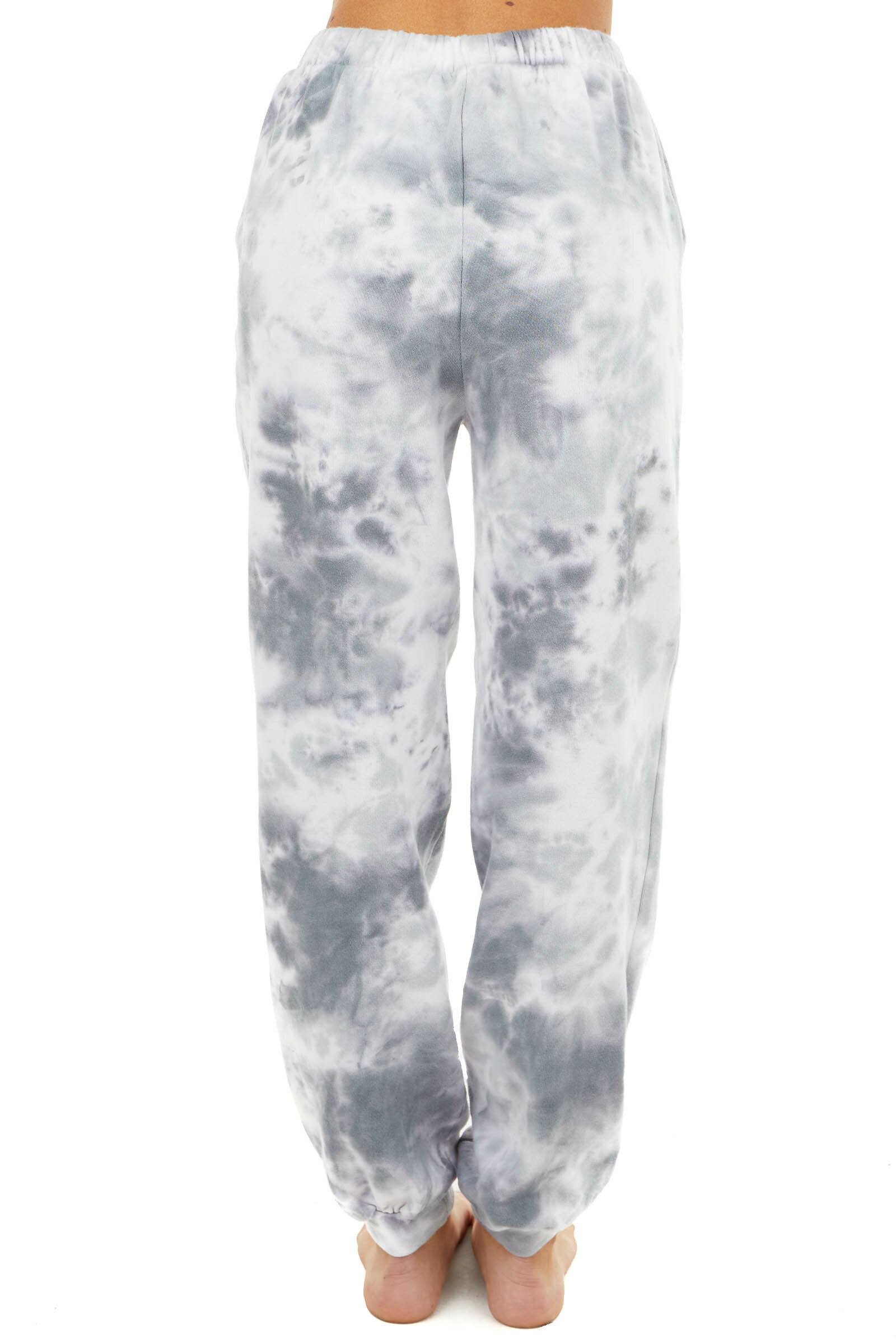 Charcoal and Ivory Tie Dye Print Joggers with Pockets