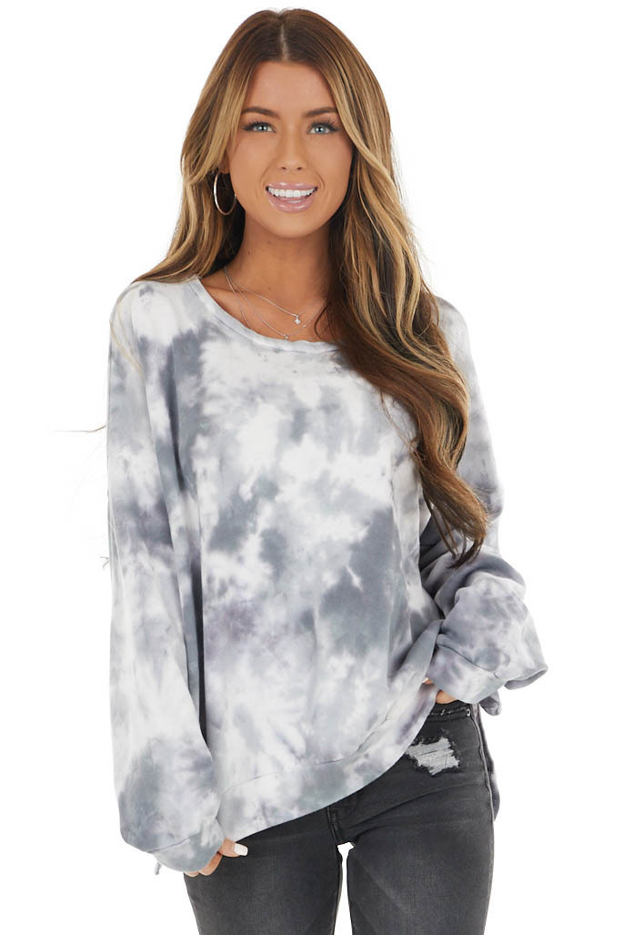 Charcoal and Ivory Tie Dye Print Crewneck Knit Sweatshirt