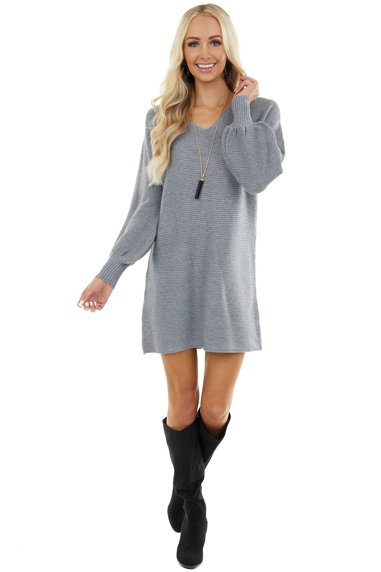 Grey Ribbed Mini Sweater Dress with Long Bubble Sleeves