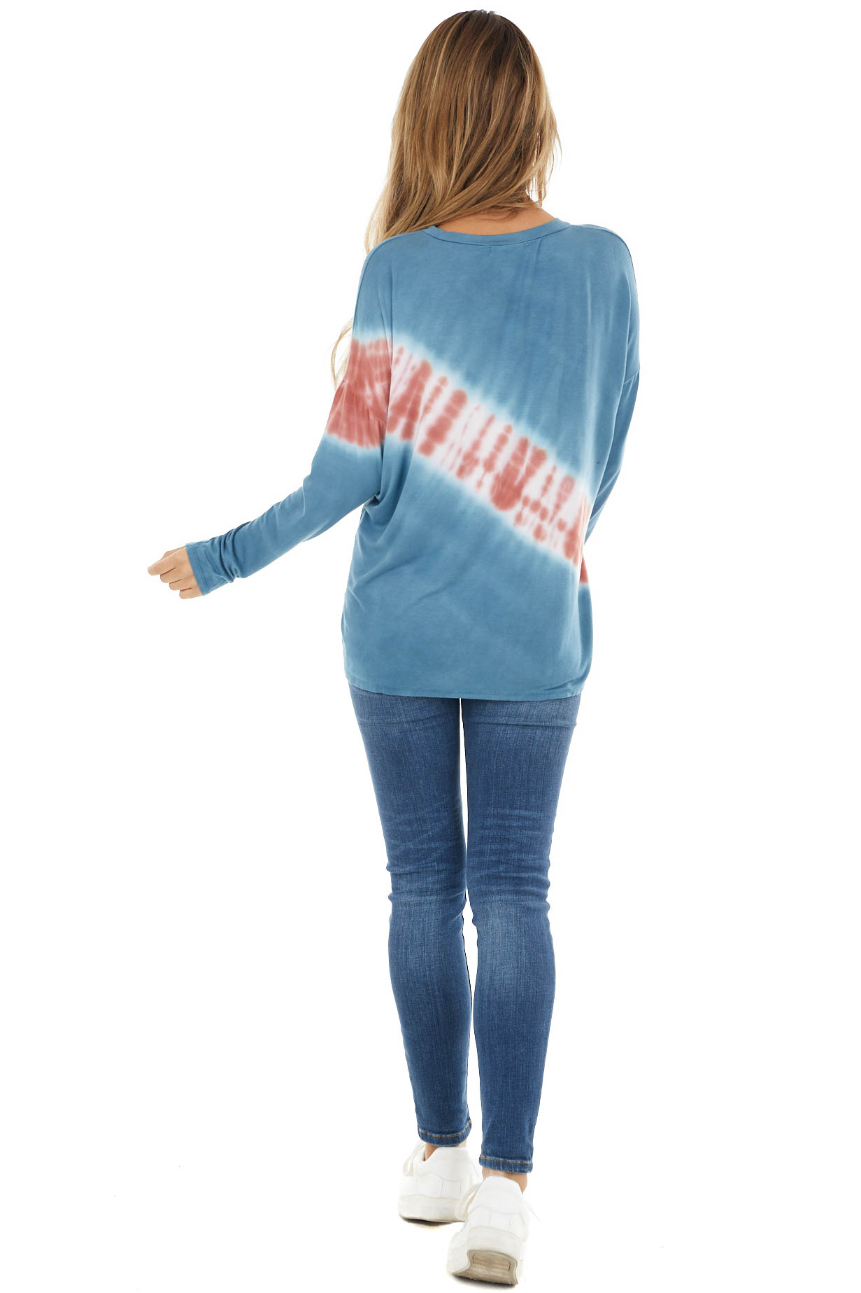 Teal and Coral Tie Dye Print Long Sleeve Knit Top