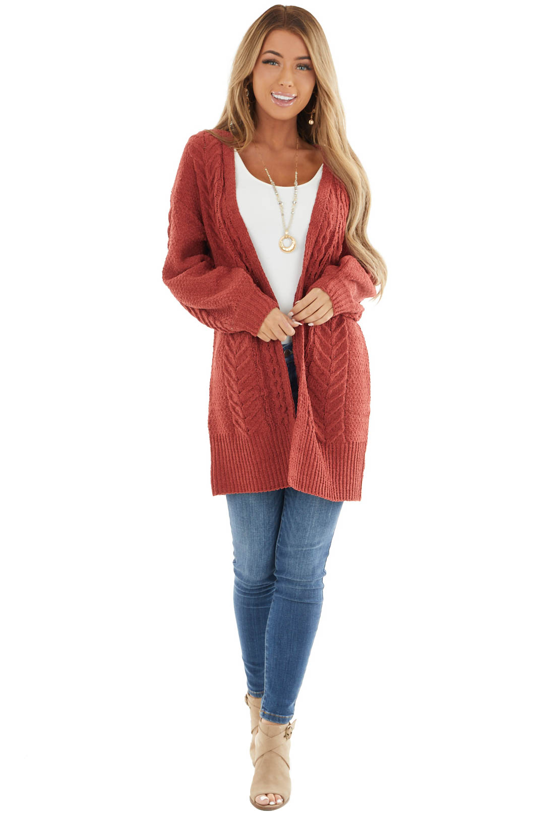 Rust Soft Cable Knit Open Front Cardigan with Long Sleeves