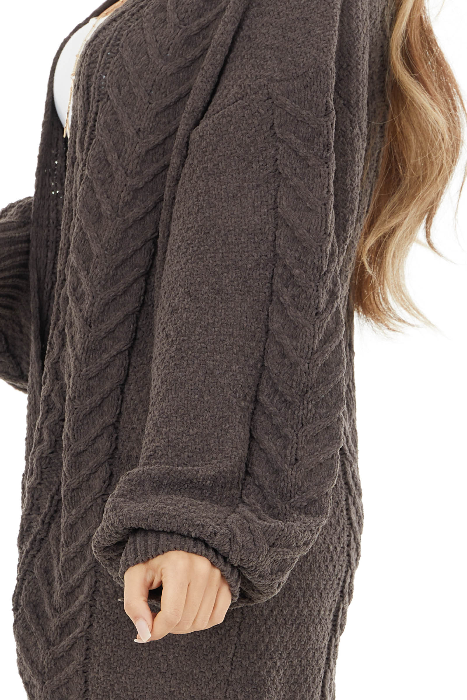Cocoa Soft Cable Knit Open Front Cardigan with Long Sleeves