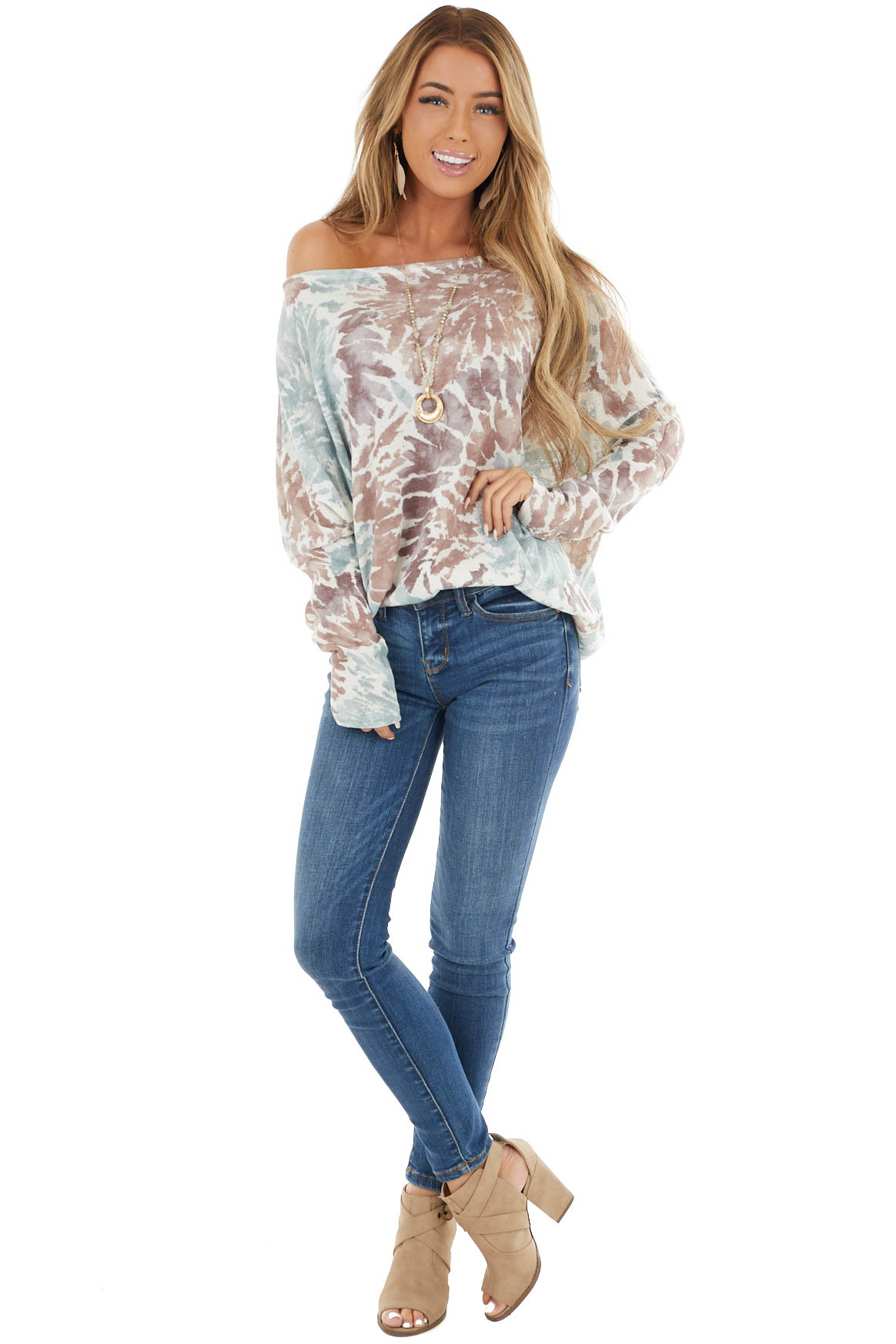 Mocha and Sage Tie Dye Print Top with Long Dolman Sleeves