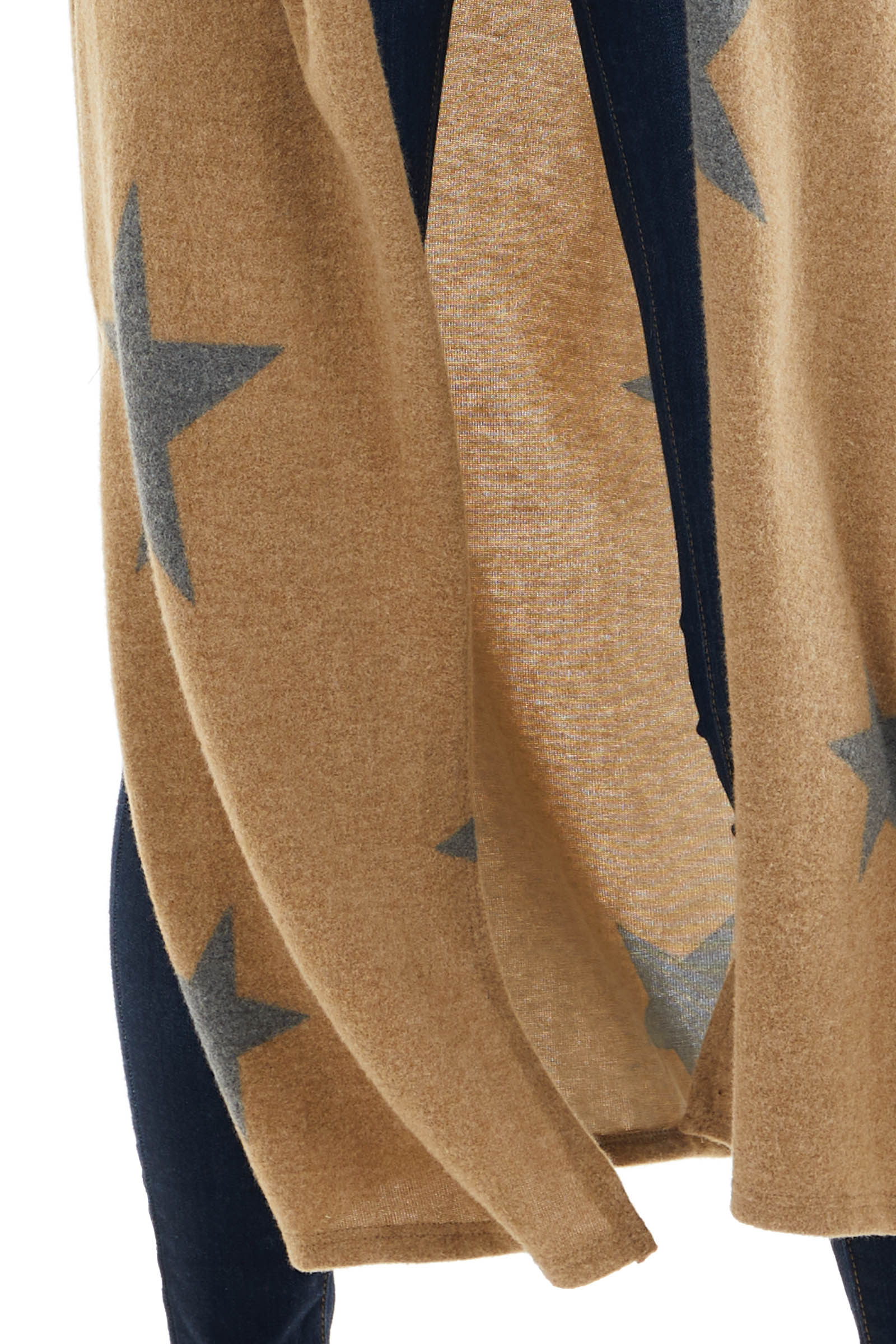 Camel Star Print Open Front Duster Cardigan with Side Slits