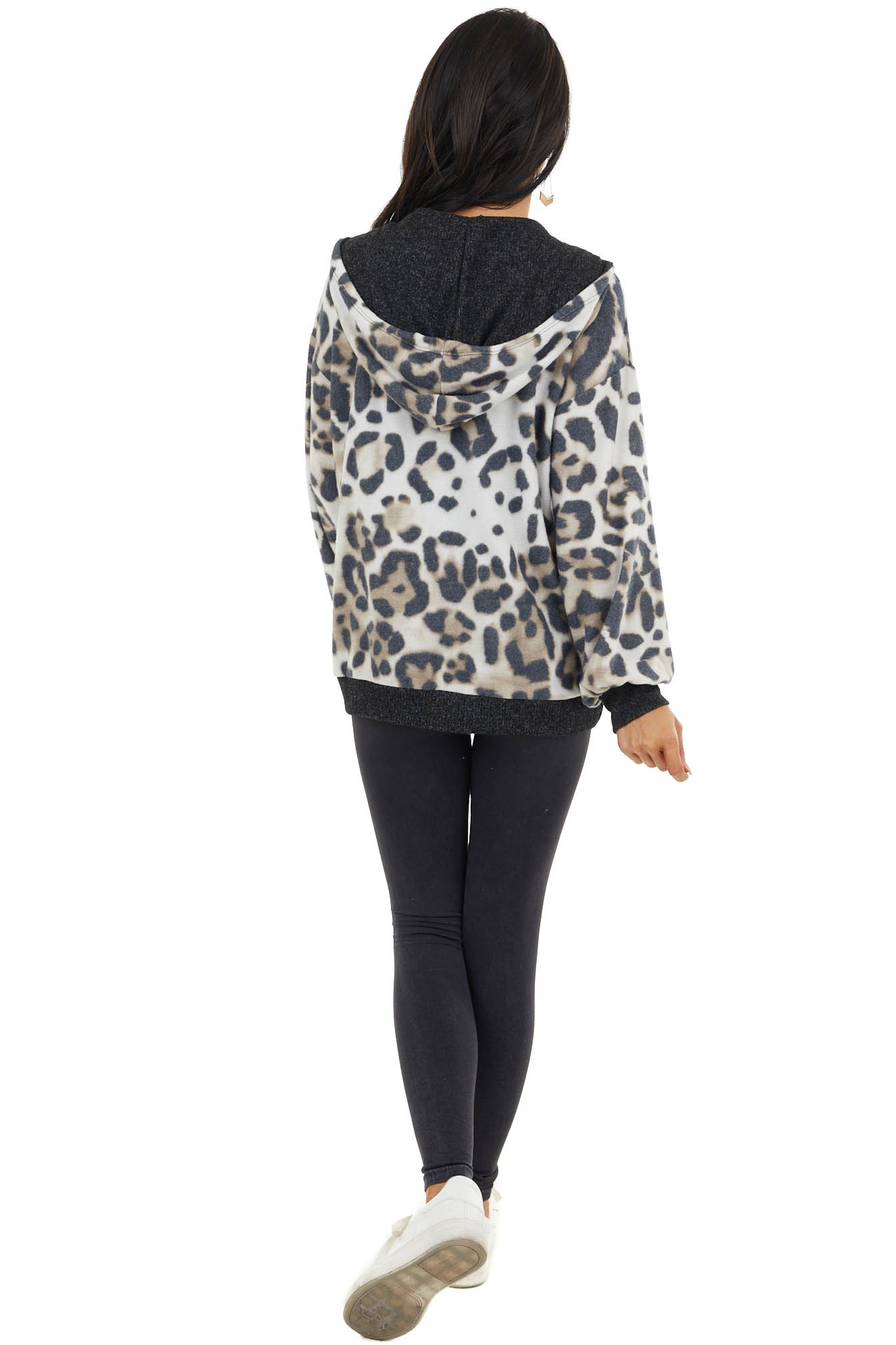 Charcoal and Oatmeal Leopard Draw String Zip Up Hoodie