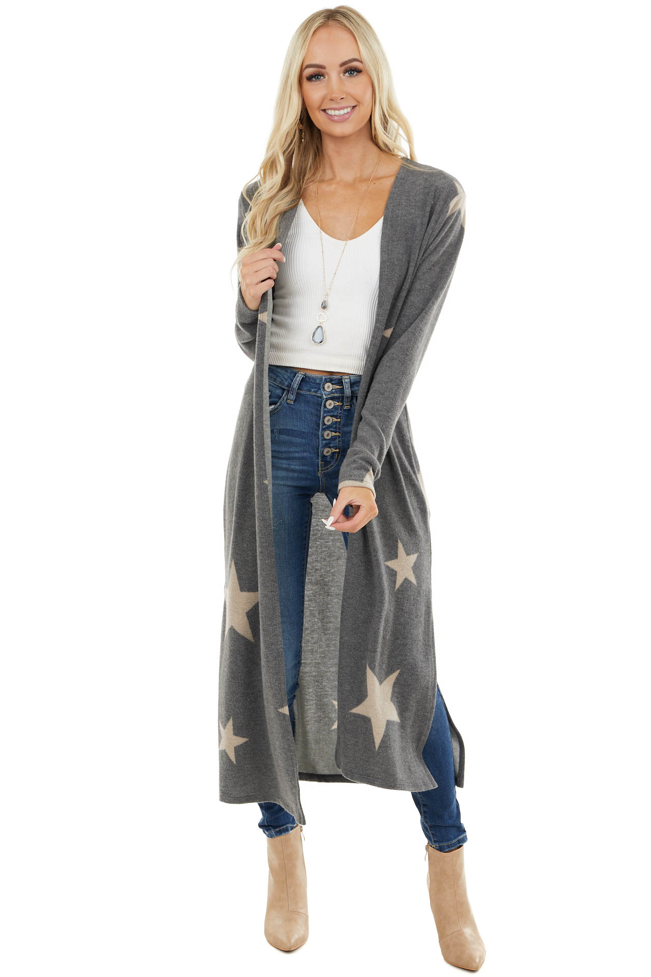Charcoal Star Print Open Front Long Cardigan with Side Slits