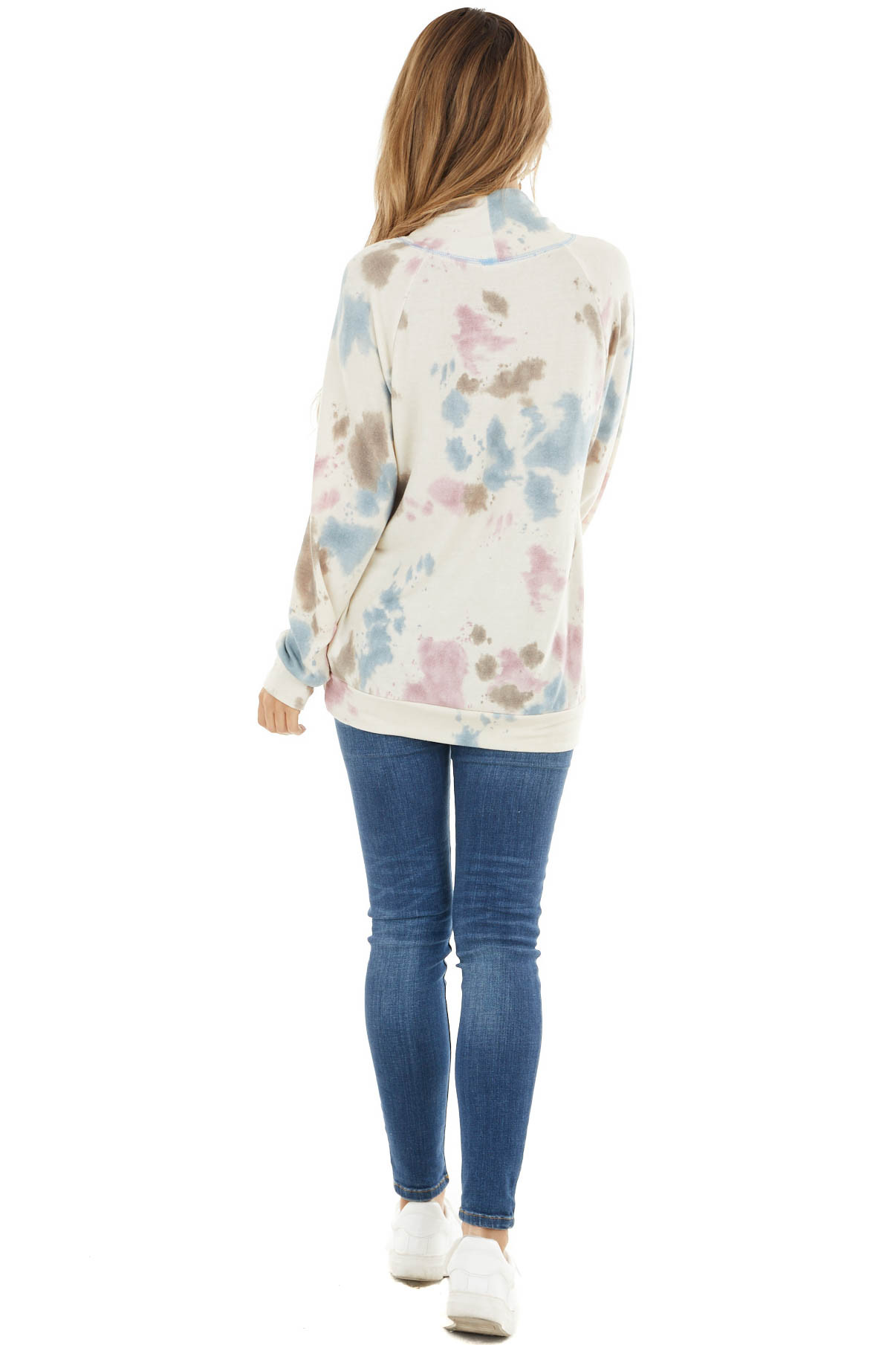 Cream Tie Dye Cowl Neck Top With Drawstring Detail