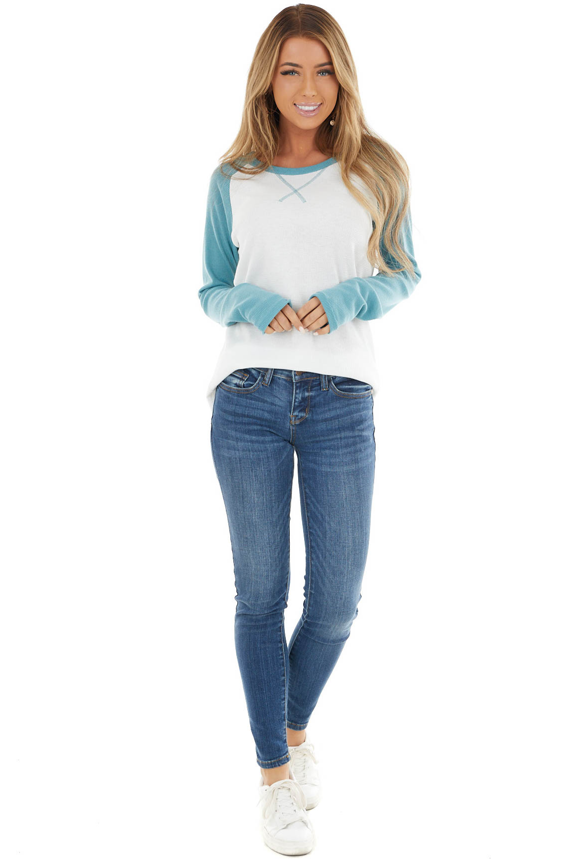 Dusty Sage And Ivory Long Sleeve Top With X Stitch Detail