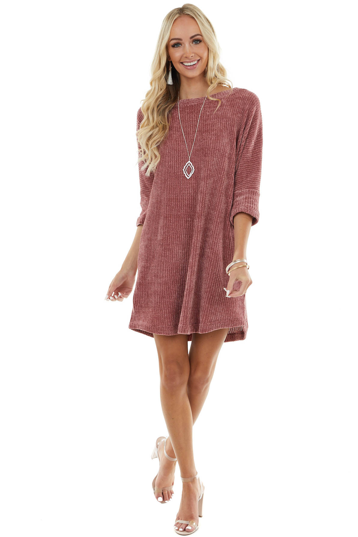 Marsala Chenille Knit Sweater Dress with 3/4 Dolman Sleeves