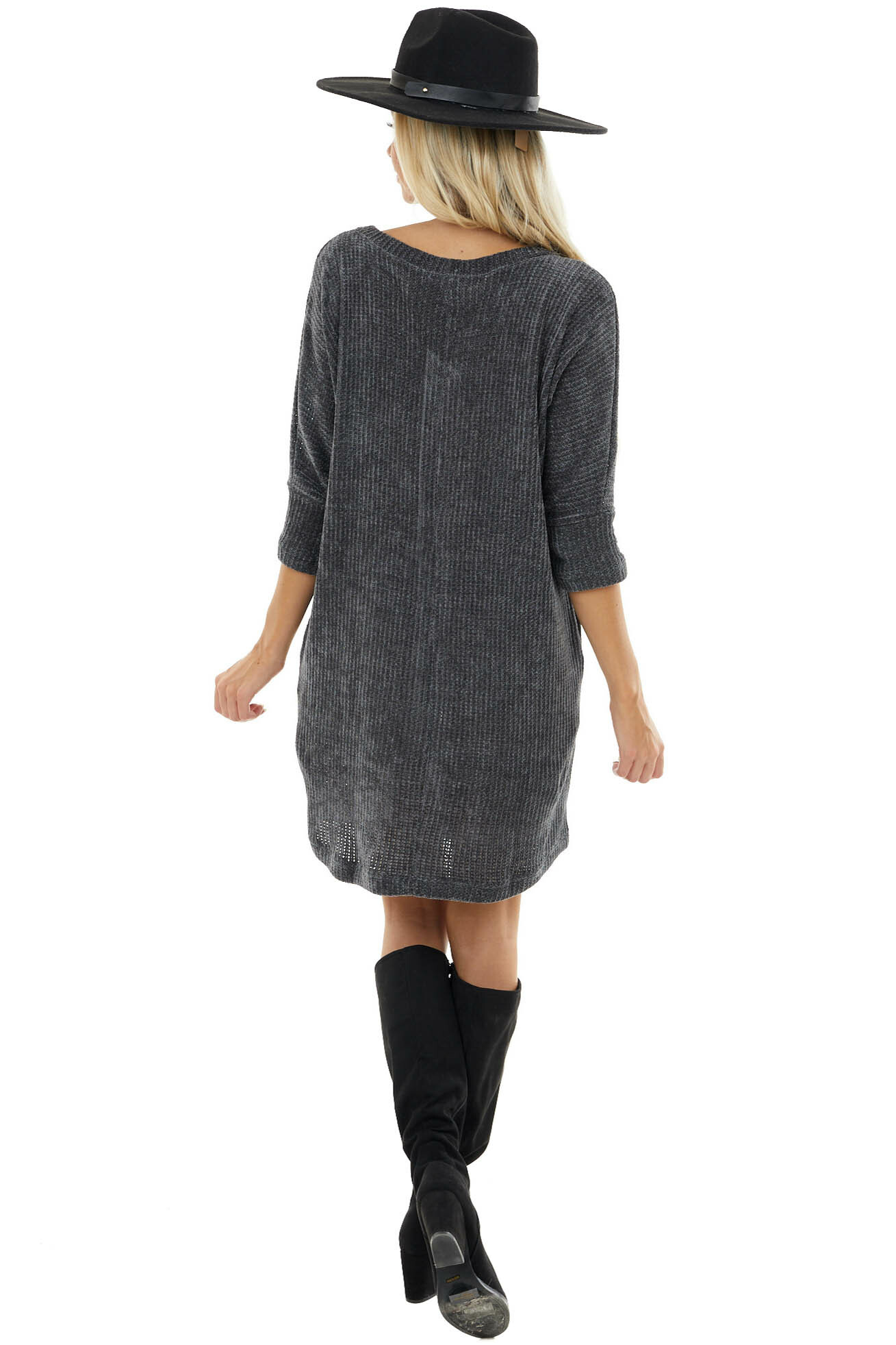 Charcoal Chenille Knit Sweater Dress with 3/4 Dolman Sleeves