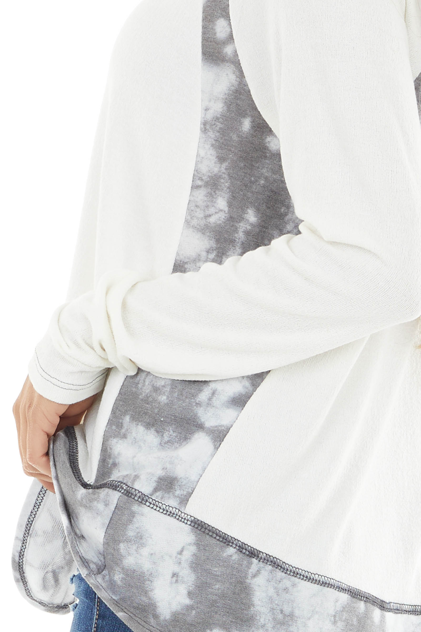 Ivory Long Sleeve V Neck Top with Charcoal Tie Dye Details