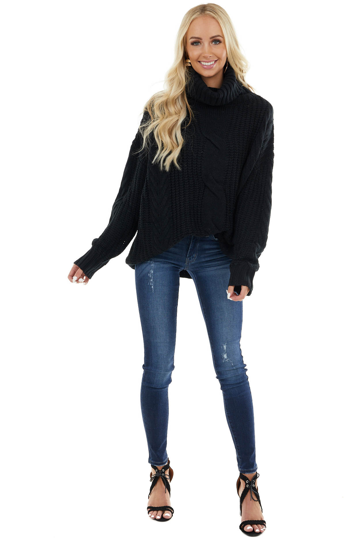 Black Cable Knit Long Sleeve Sweater with Turtleneck