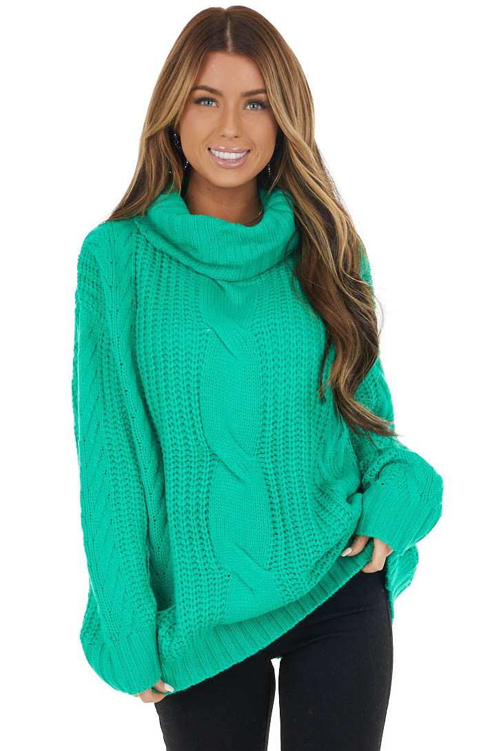Kelly Green Cable Knit Long Sleeve Sweater with Turtleneck