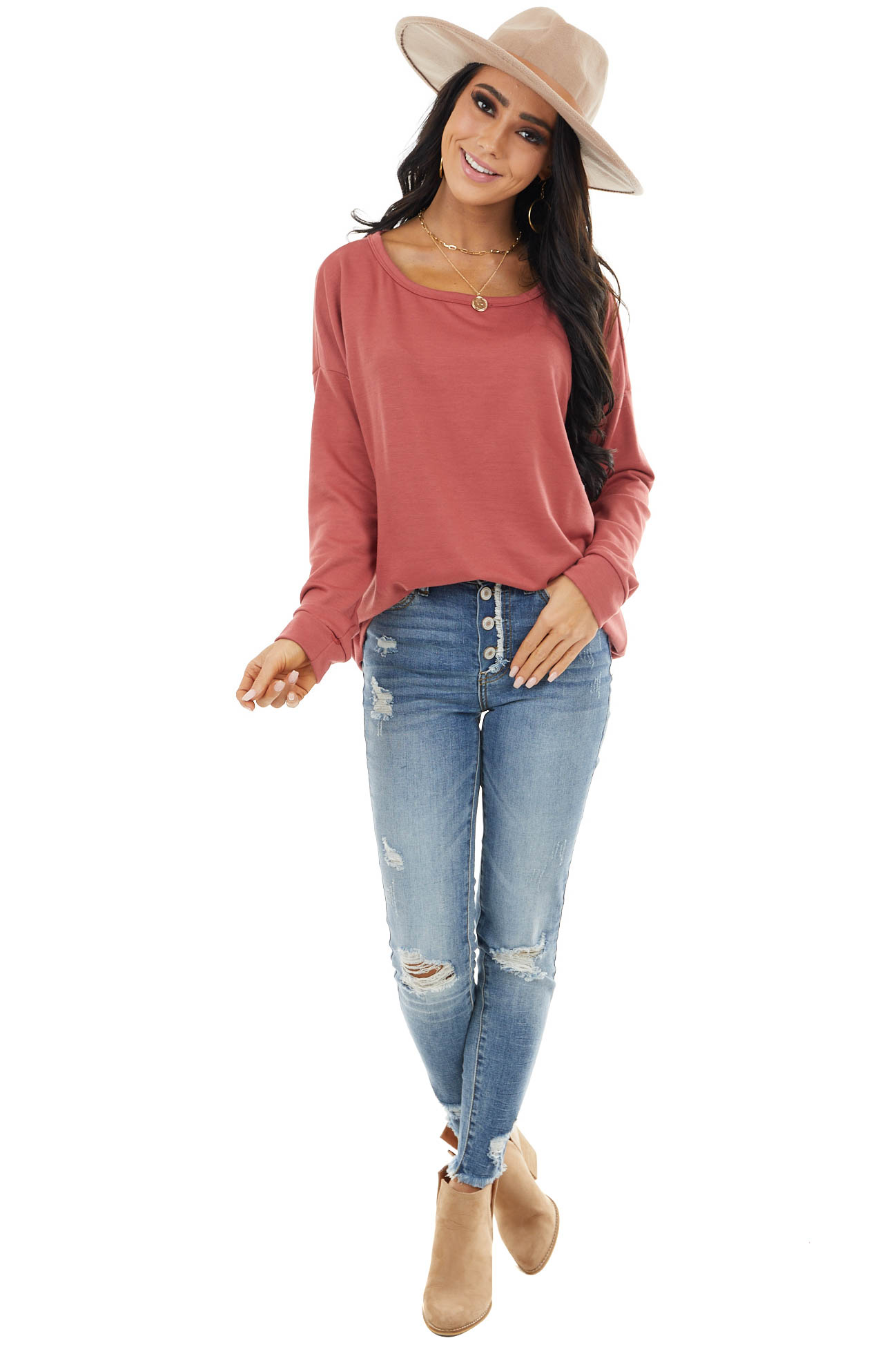Bright Marsala Long Sleeve Rounded Neck Top with Open Back