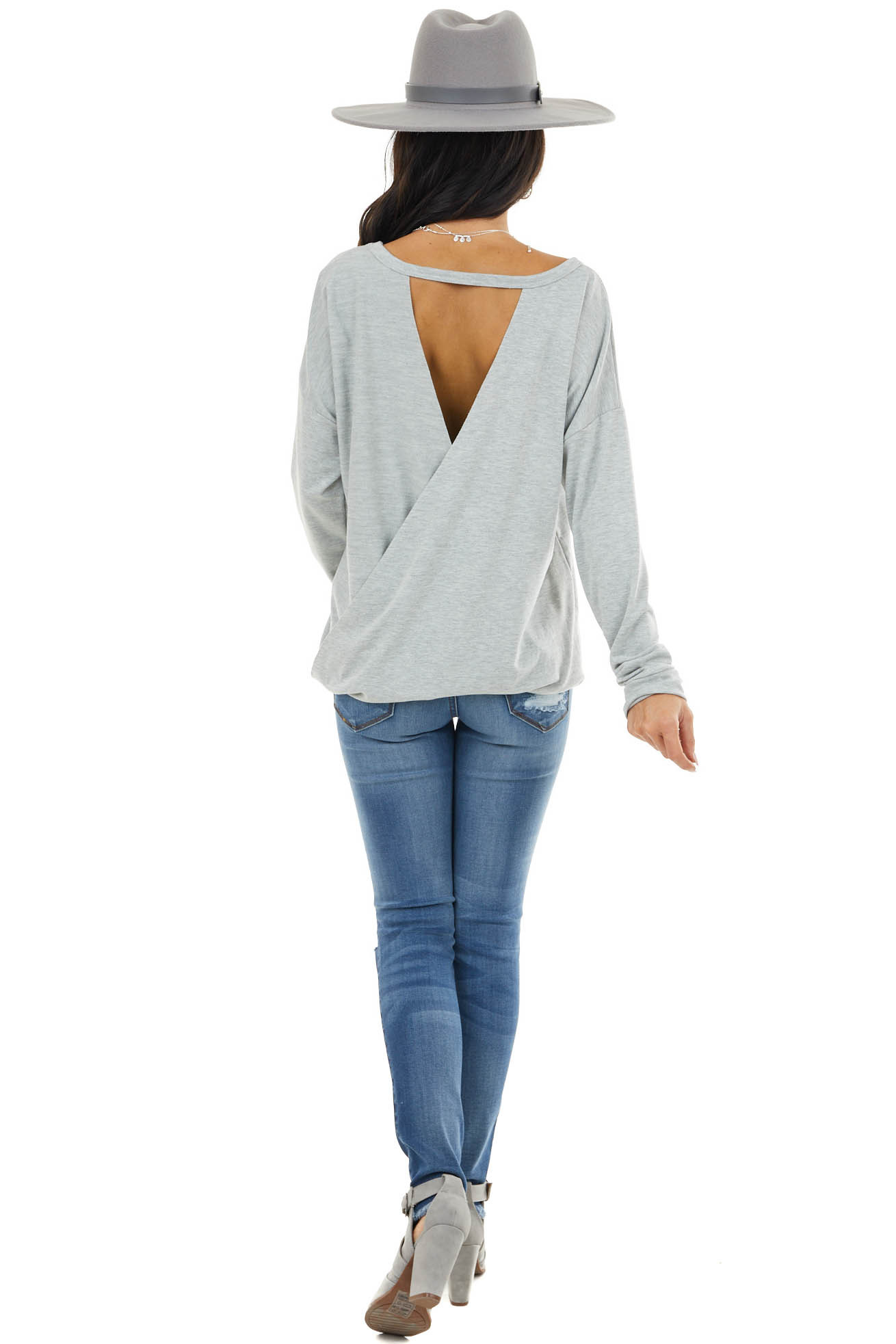 Dove Grey Long Sleeve Rounded Neck Top with Open Back