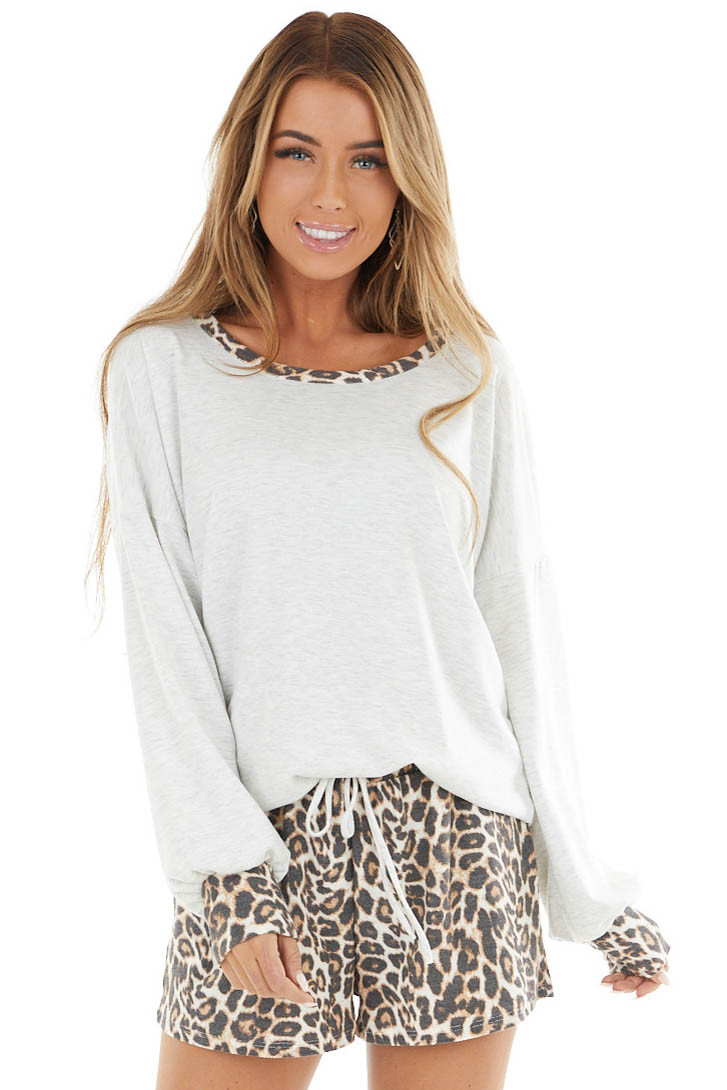 Heathered Grey and Leopard Print Top with Shorts Set