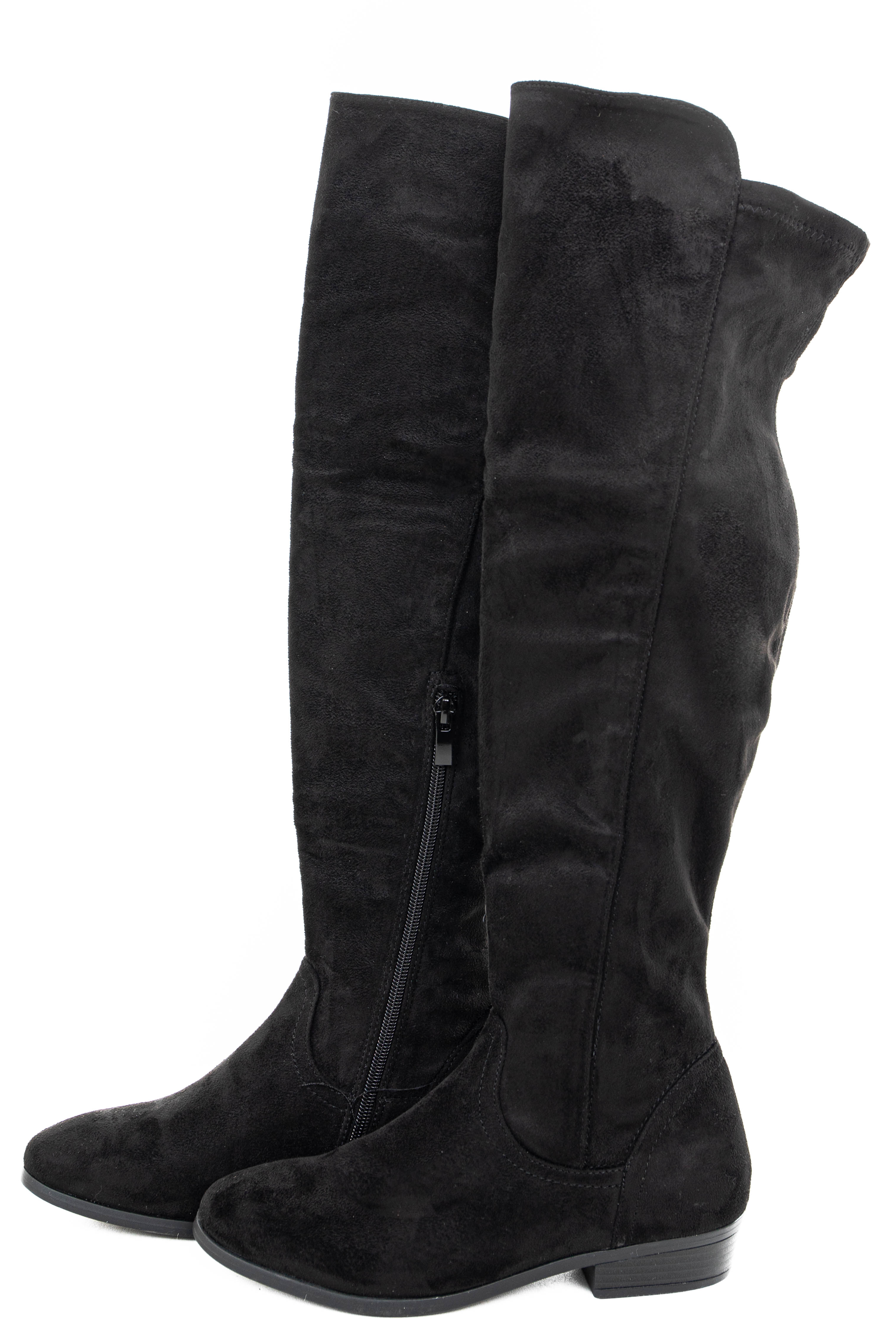 Black Faux Suede Knee High Boots with Small Heel