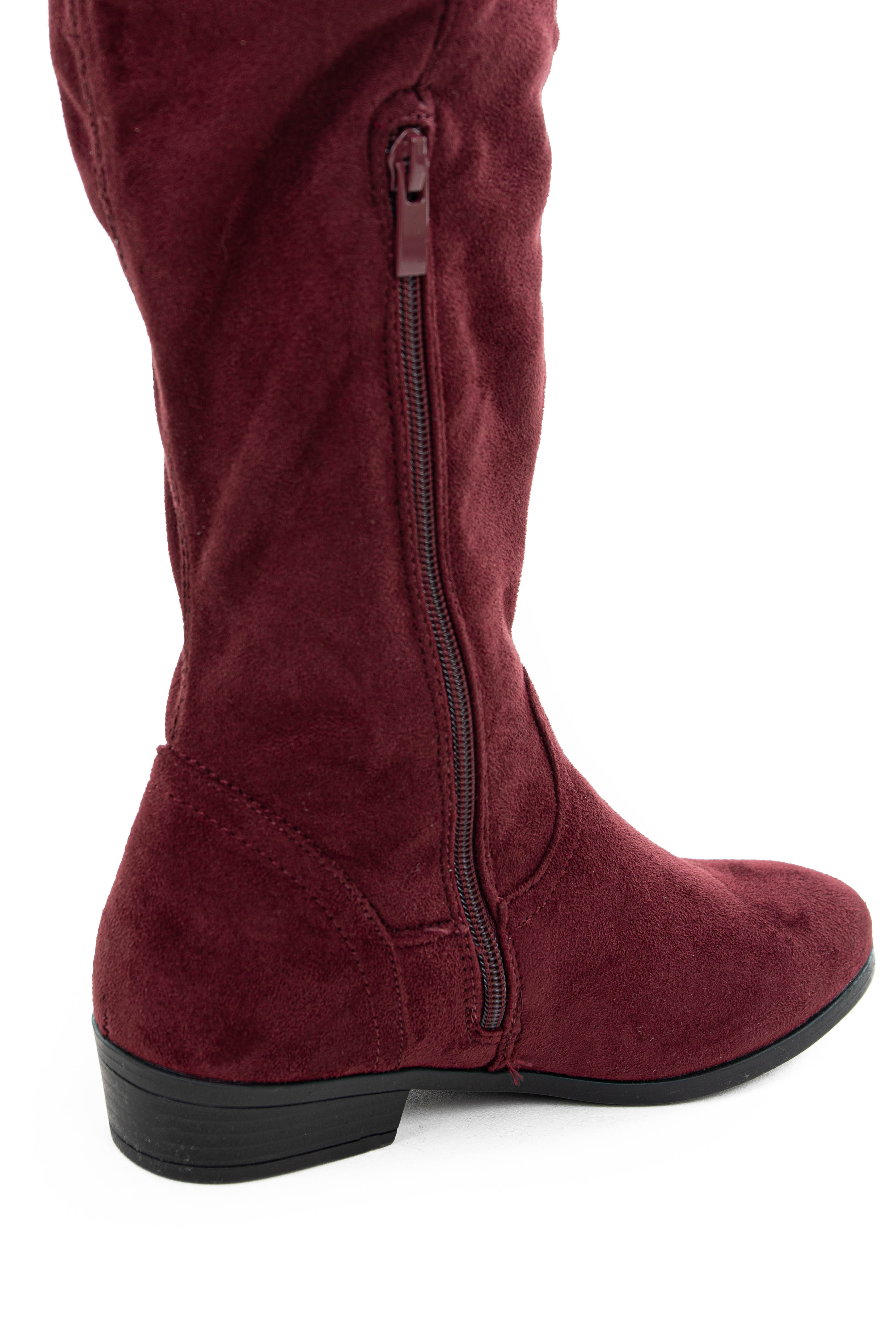 Burgundy Faux Suede Knee High Boots with Small Heel
