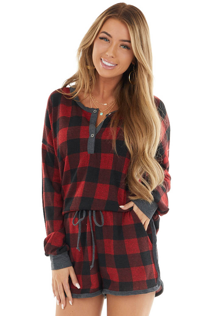 Crimson Red Buffalo Plaid Long Sleeve Top with Button Detail
