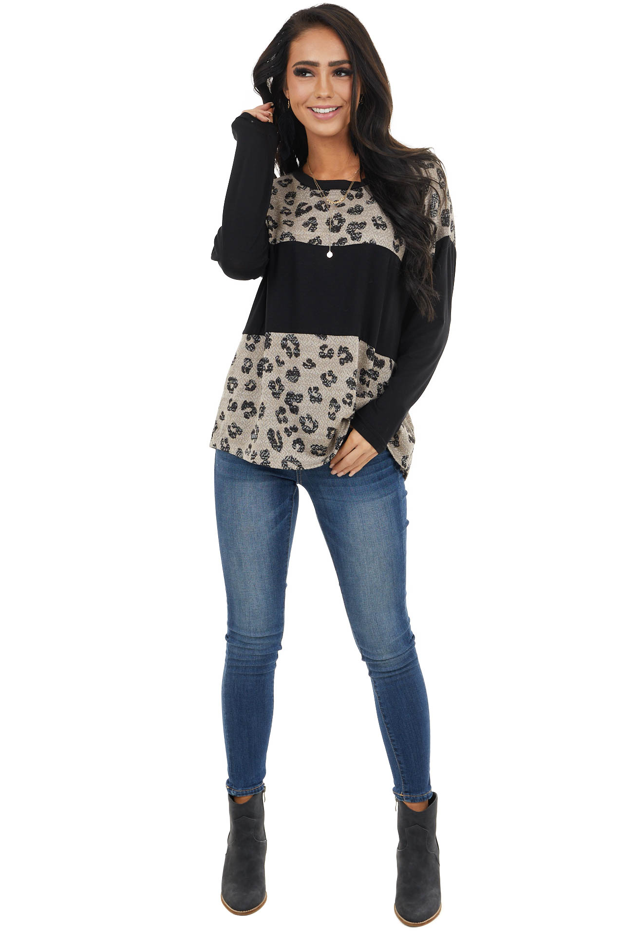 Latte and Black Colorblock and Leopard Print Long Sleeve Top