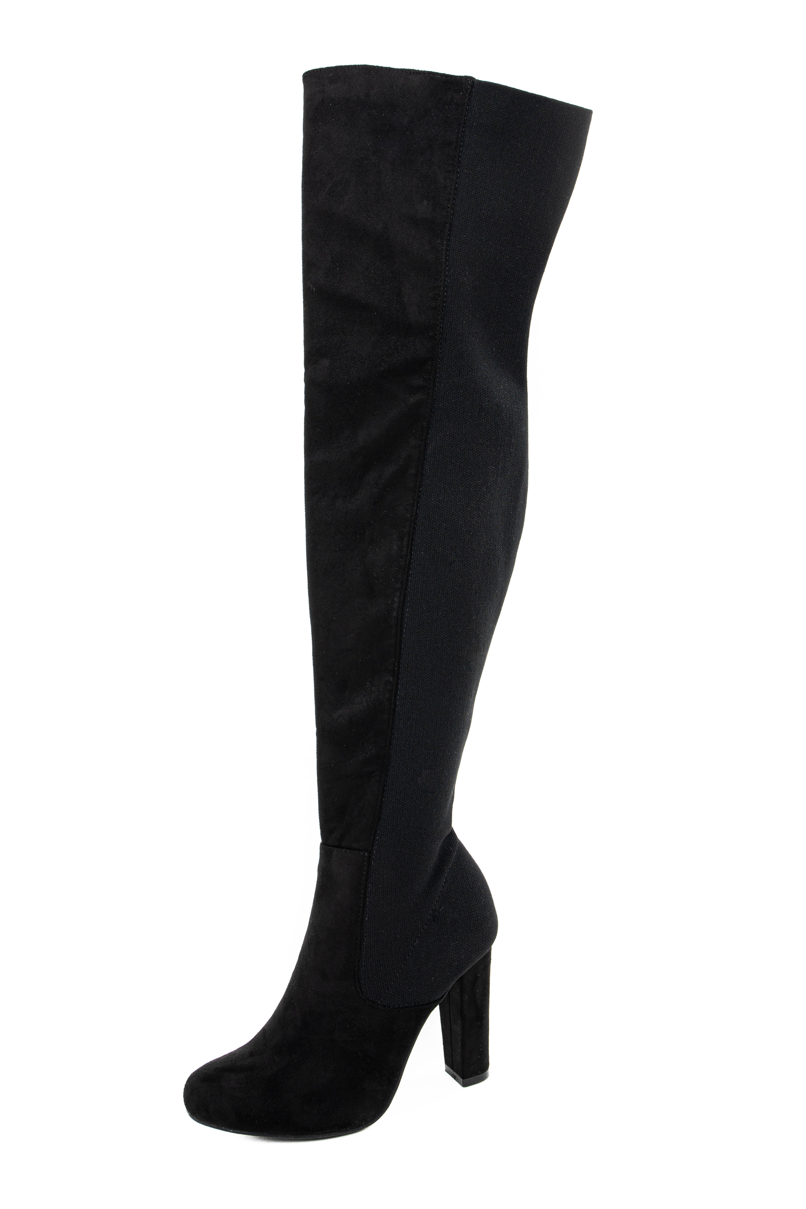 Black Faux Suede Knee High Heel Boots with Stretchy Back