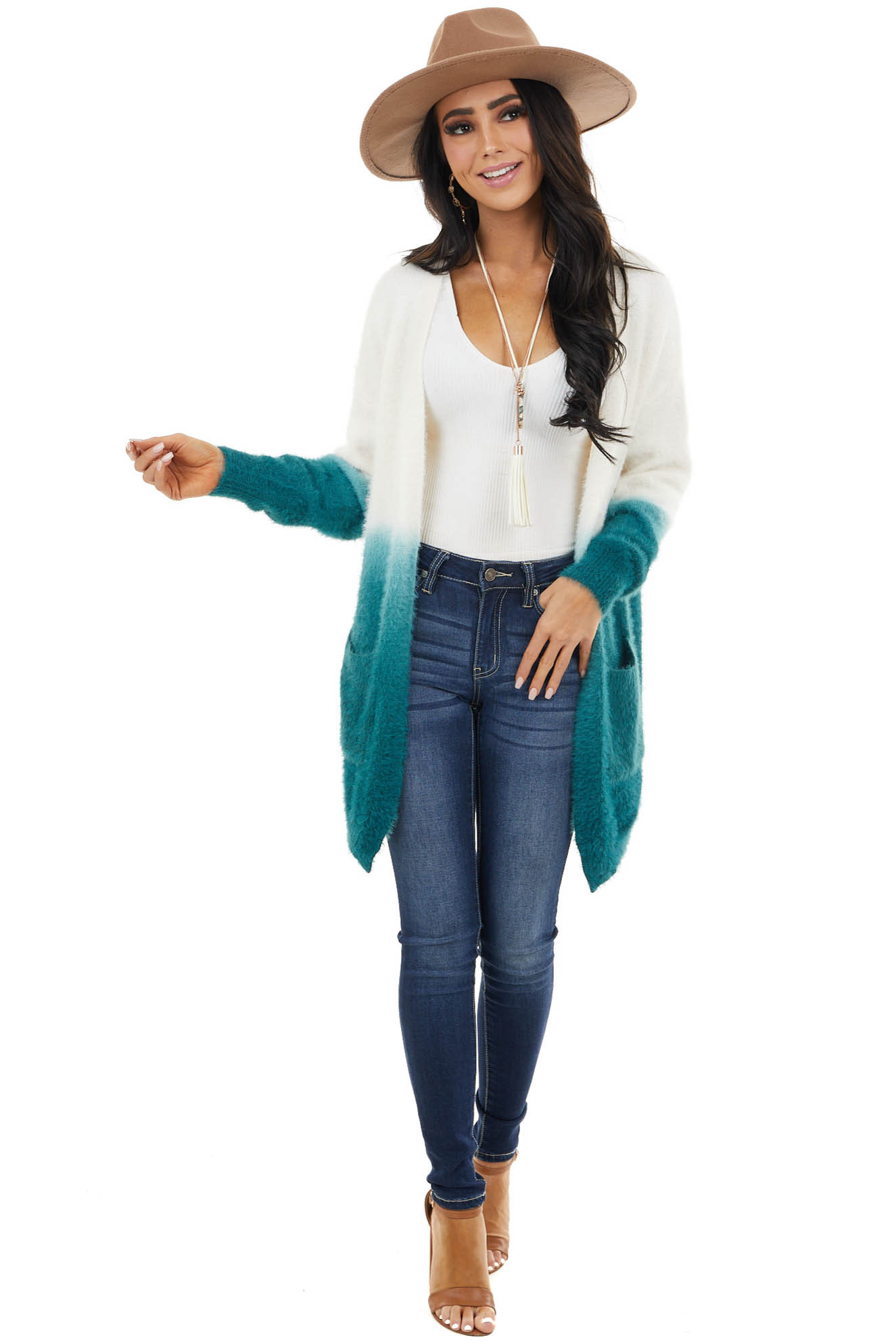 Pine and Ivory Ombre Fuzzy Knit Cardigan with Pockets