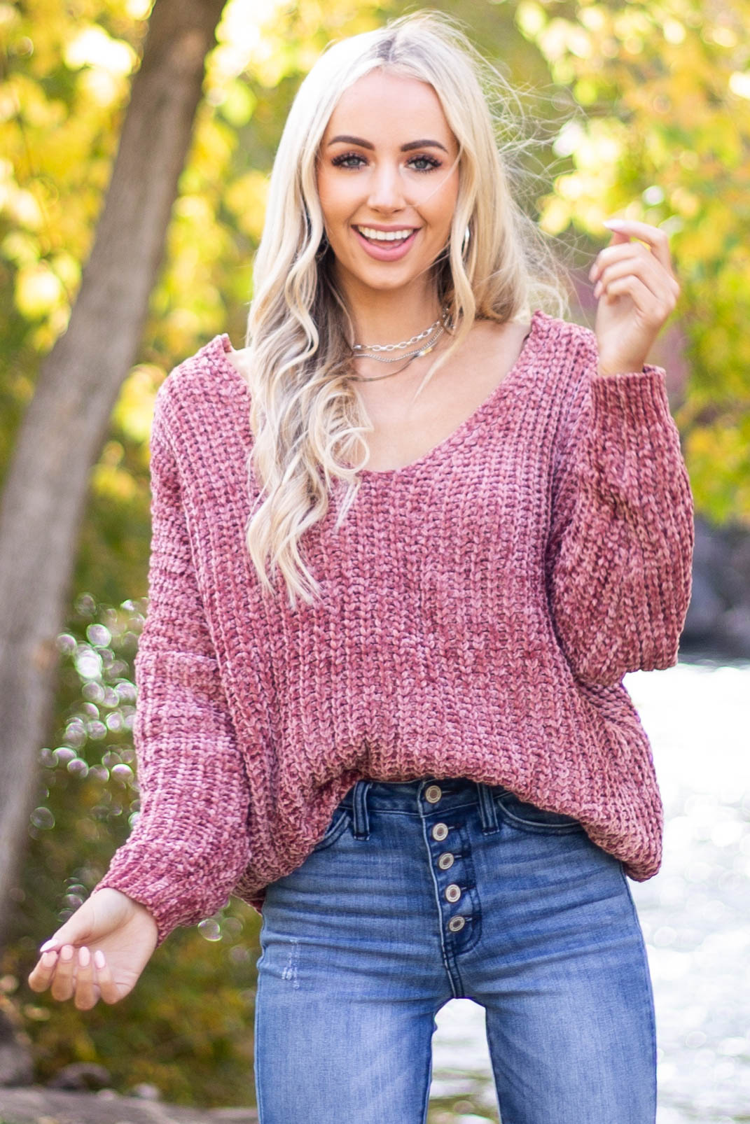 Dusty Rose Chenille Long Sleeve Sweater with V Neckline