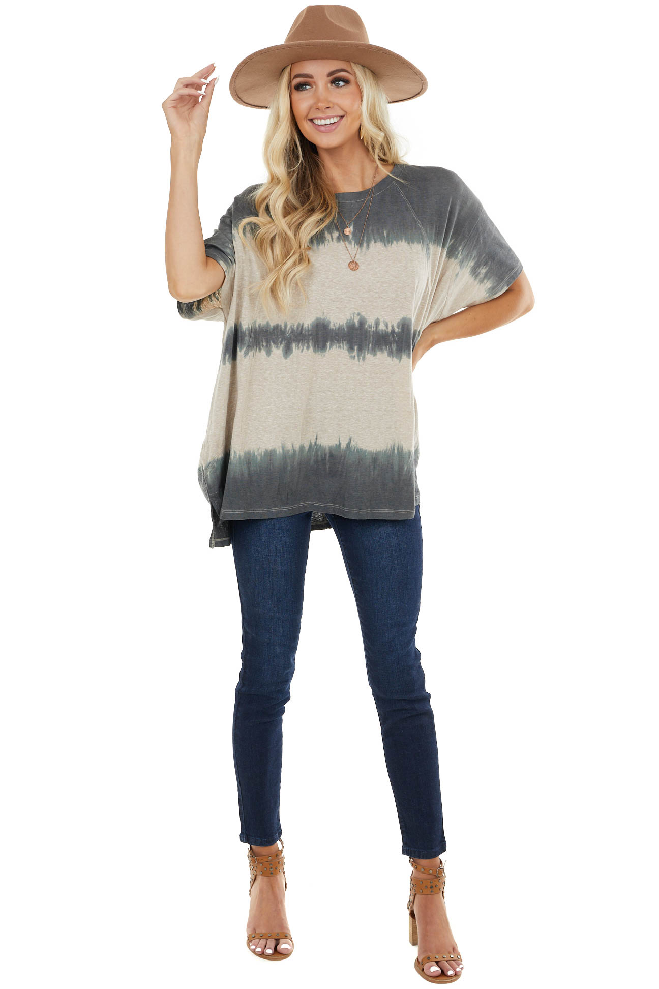 Faded Navy and Latte Washed Oversized Top with Side Pockets