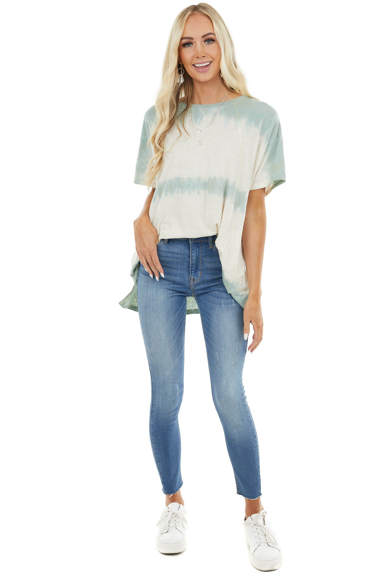 Cream and Sage Washed Oversized Top with Side Pockets
