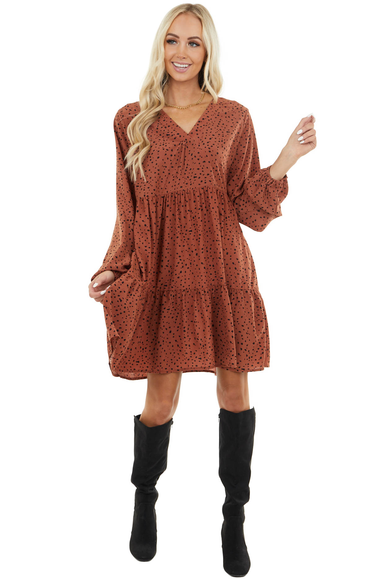 Terracotta Cheetah Print Tiered Dress with Bubble Sleeves