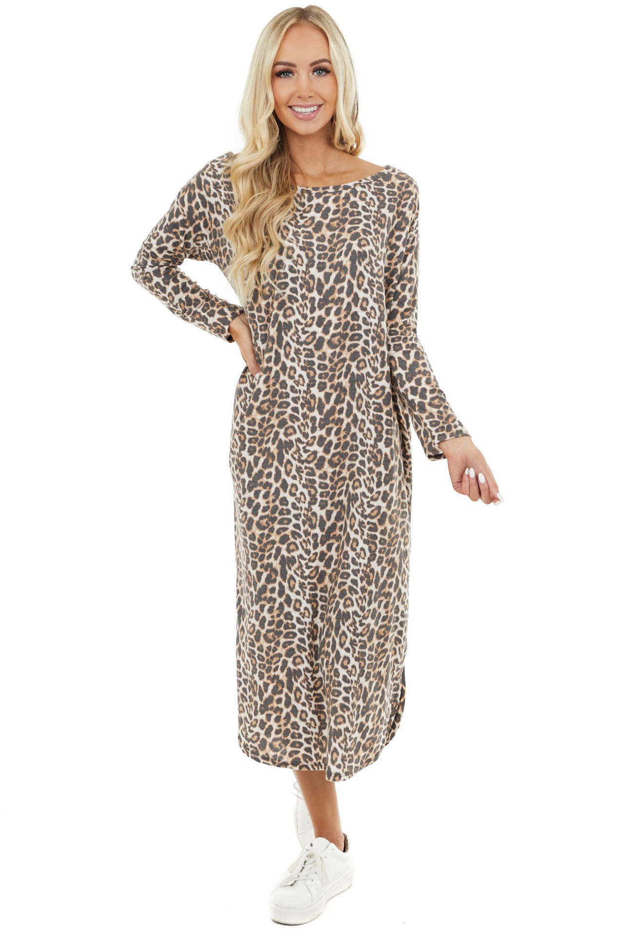 Ivory and Stormy Sand Leopard Wide Neck Maxi Dress
