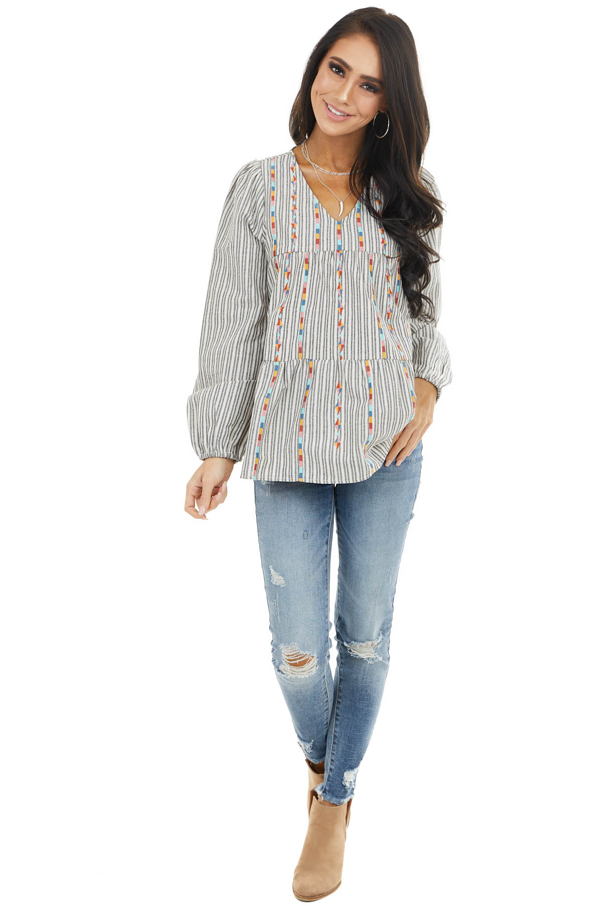 Charcoal and Ivory Striped Long Sleeve Embroidered Blouse
