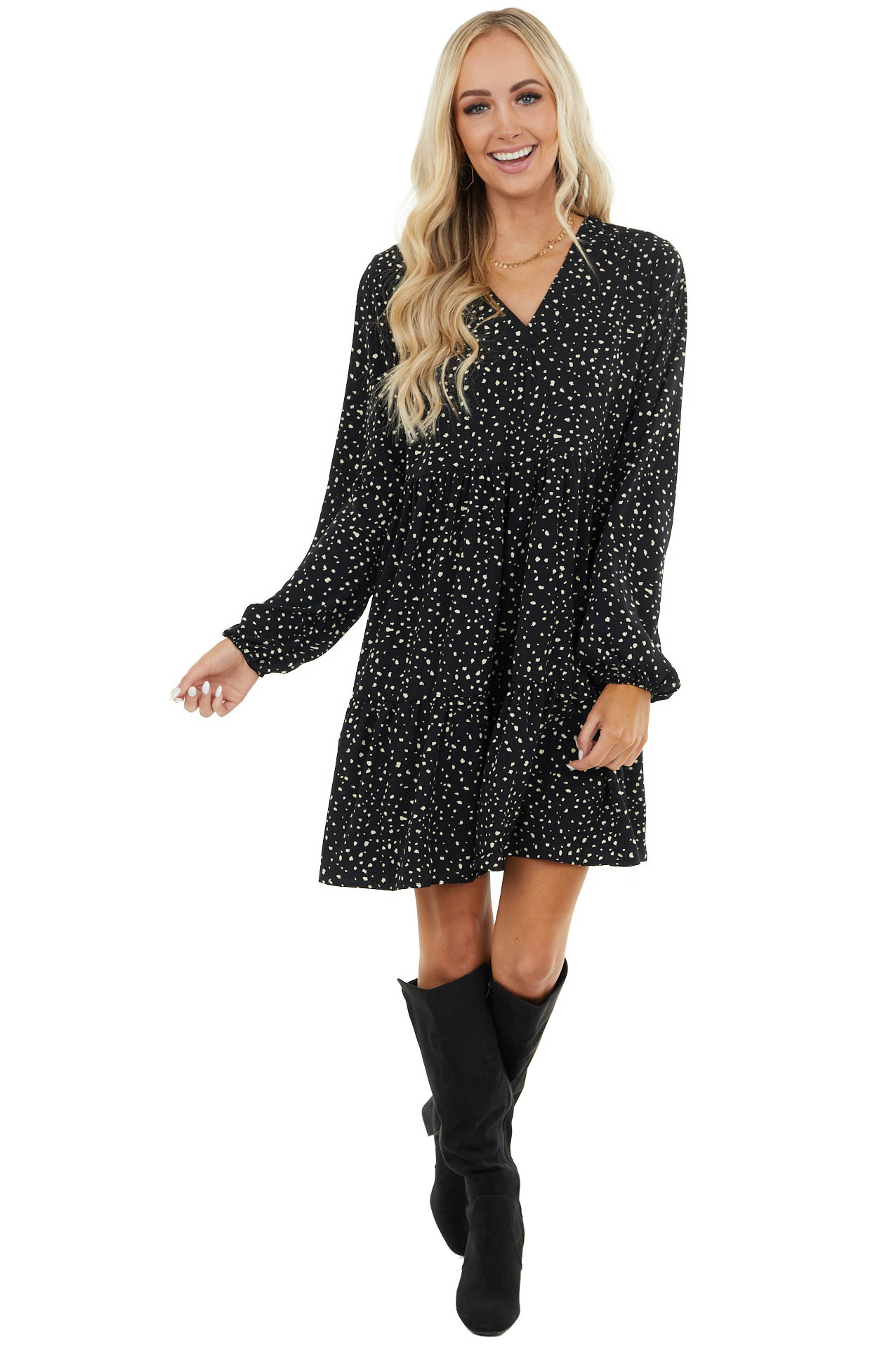 Black Cheetah Print Tiered Dress with Bubble Sleeves