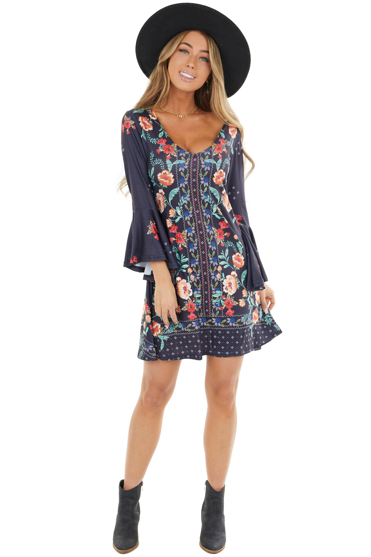 Navy Blue Floral Print Mini Dress with Bell Sleeves