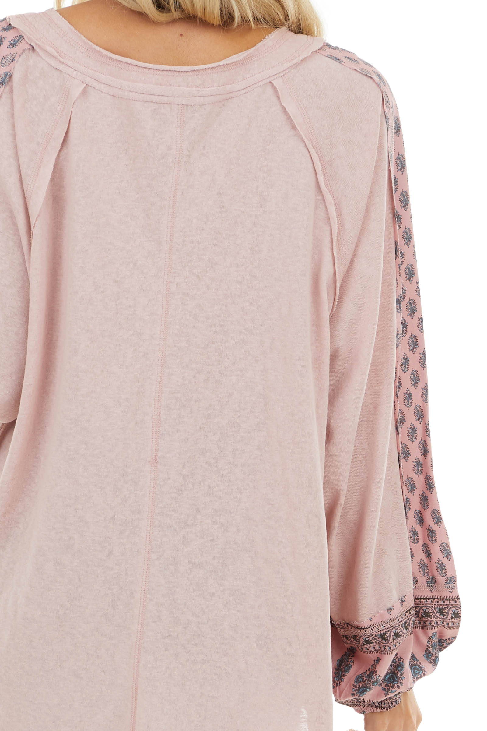 Dusty Blush Long Sleeve Top with Patterned Contrast Detail