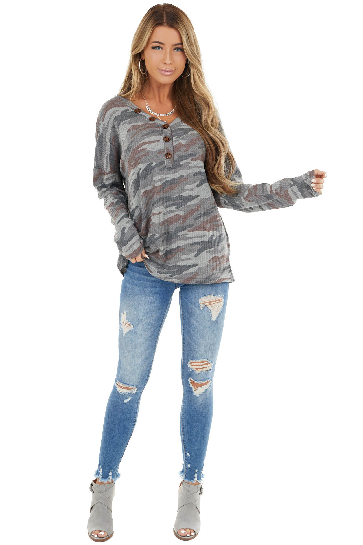 Stone Grey Camo Henley Waffle Knit Top with Long Sleeves