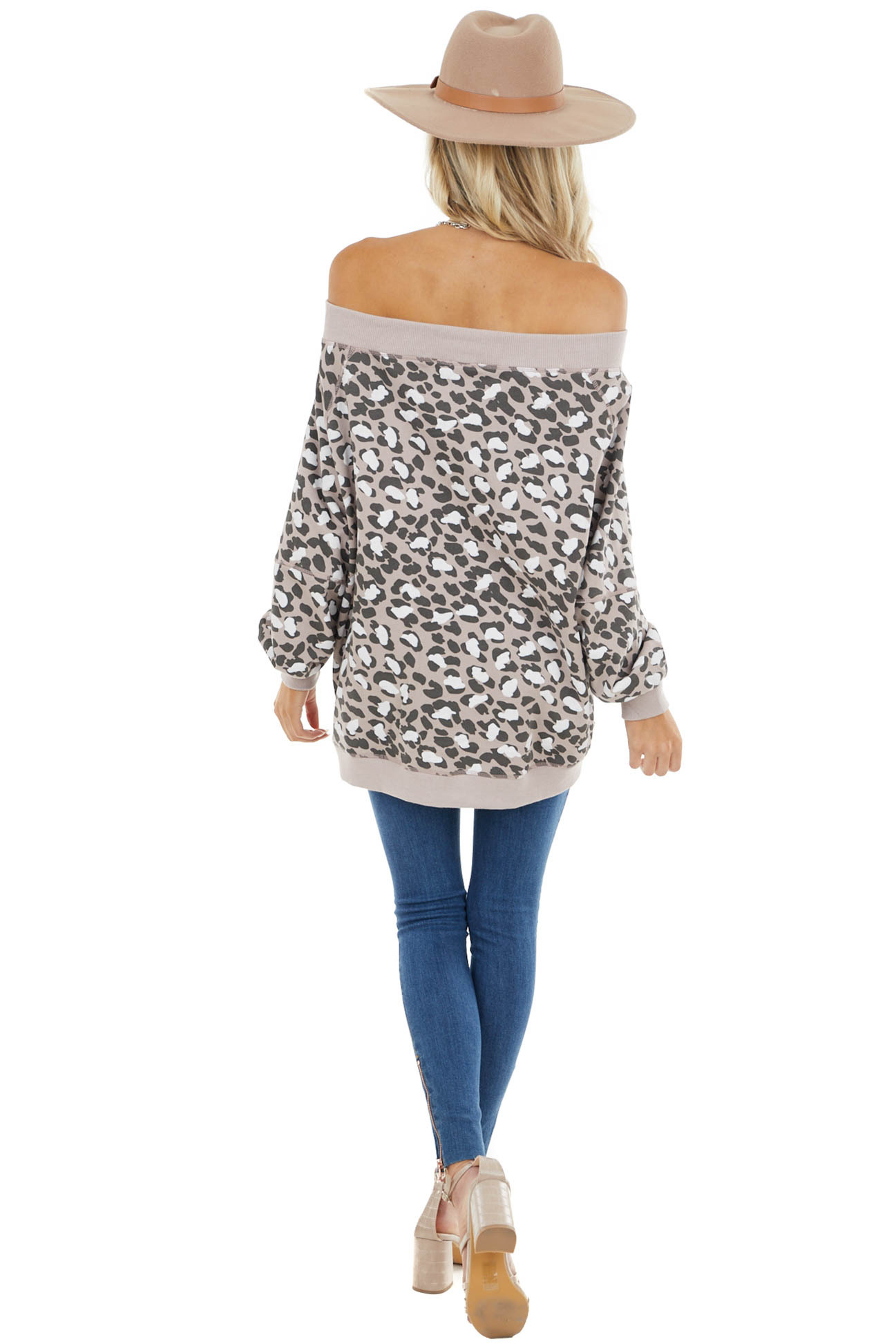 Dusty Rose and Cocoa Leopard Print Off Shoulder Sweatshirt