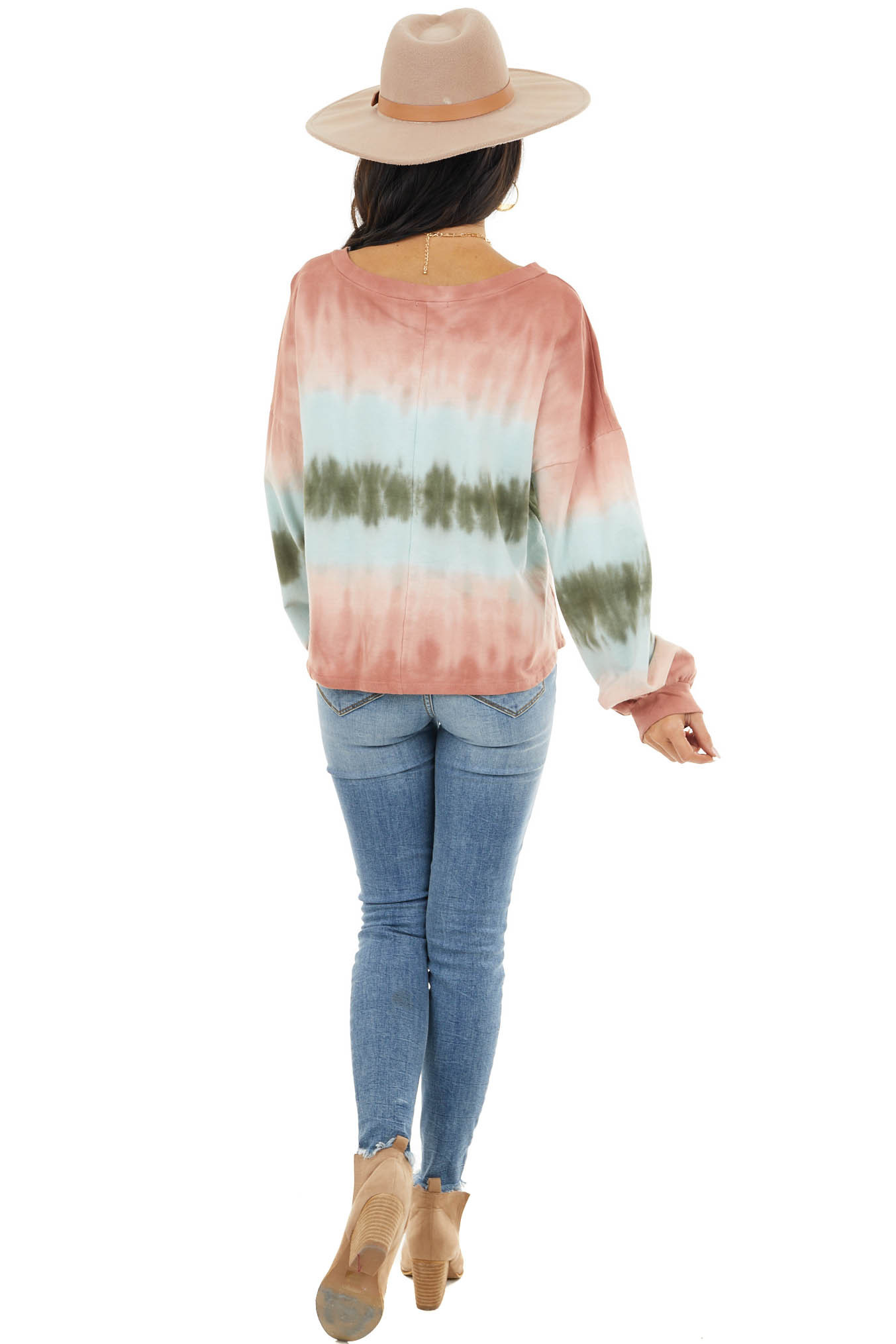 Coral and Green Tie Dye Long Sleeve Crop Top with V Neckline
