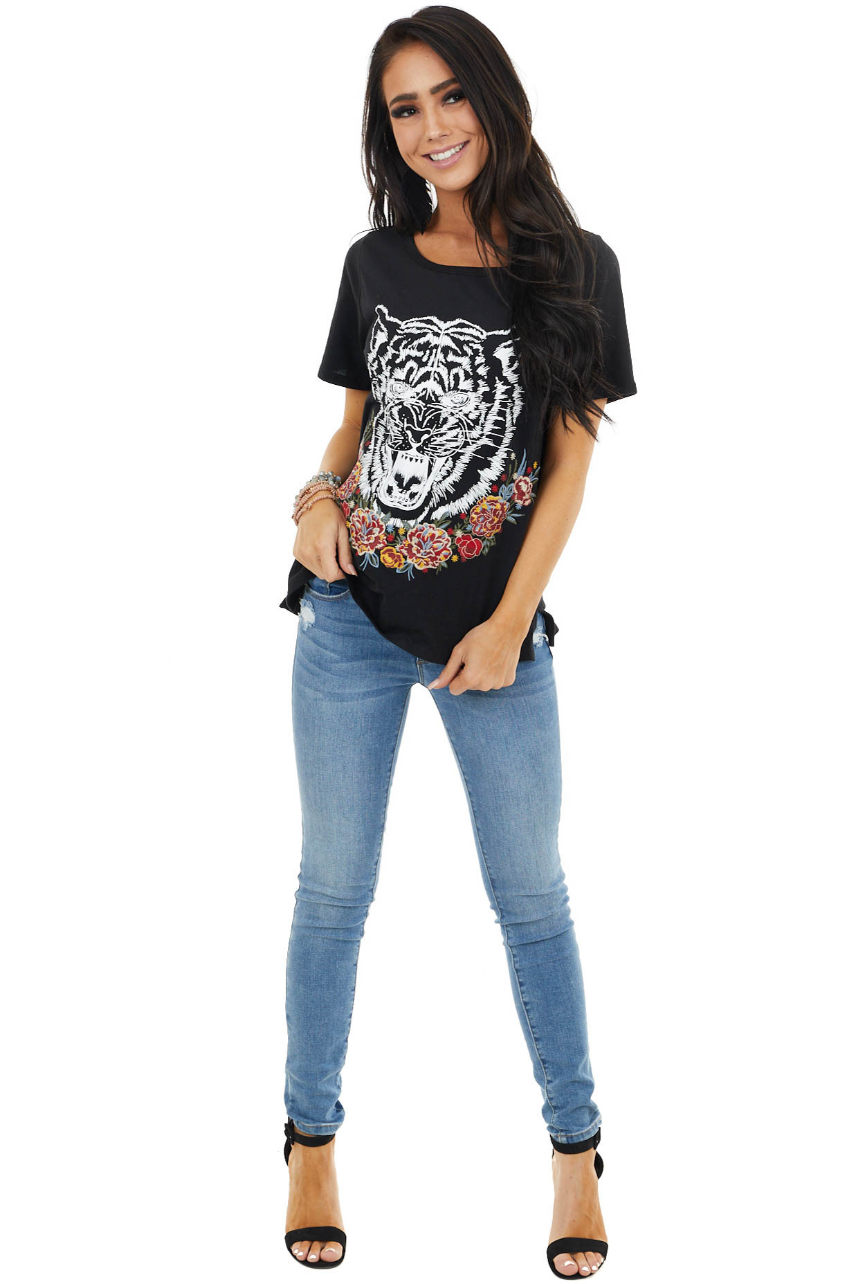 Black and Pearl Tiger Graphic Tee With Embroidered Detail