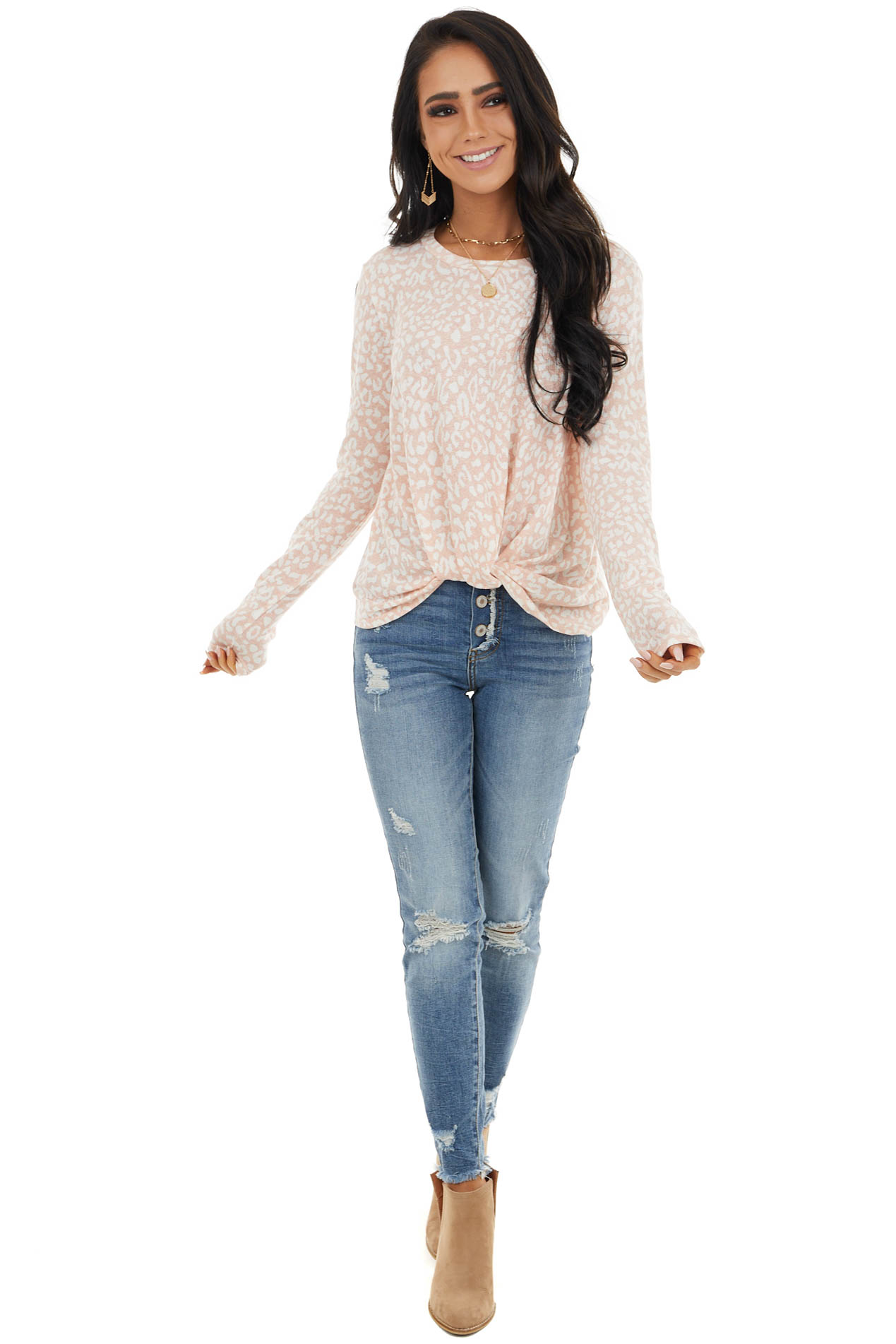 Blush Pink Leopard Print Long Sleeve Top with Front Twist