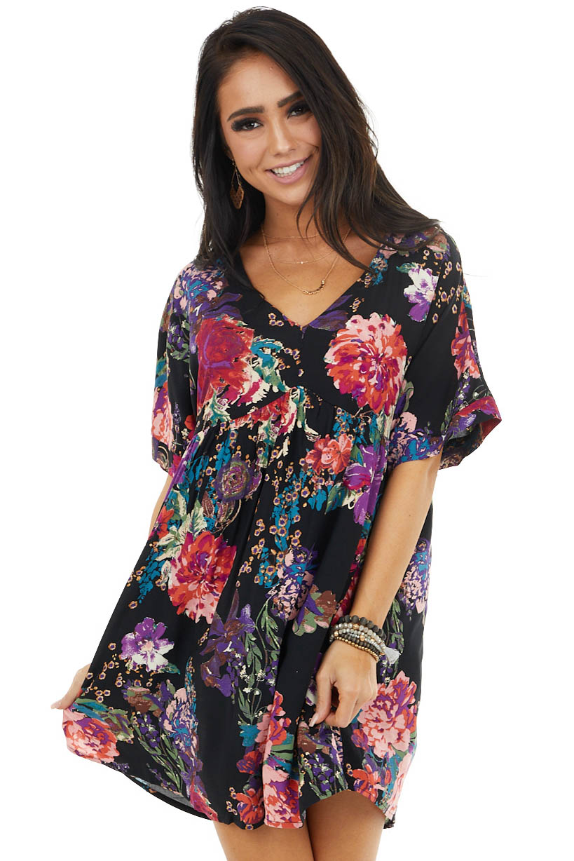 Black Multicolor Floral Print Baby Doll Flowy Mini Dress
